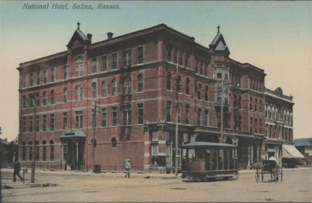 Postcard view of the National Hotel, Salina, between 1900 and 1920.
