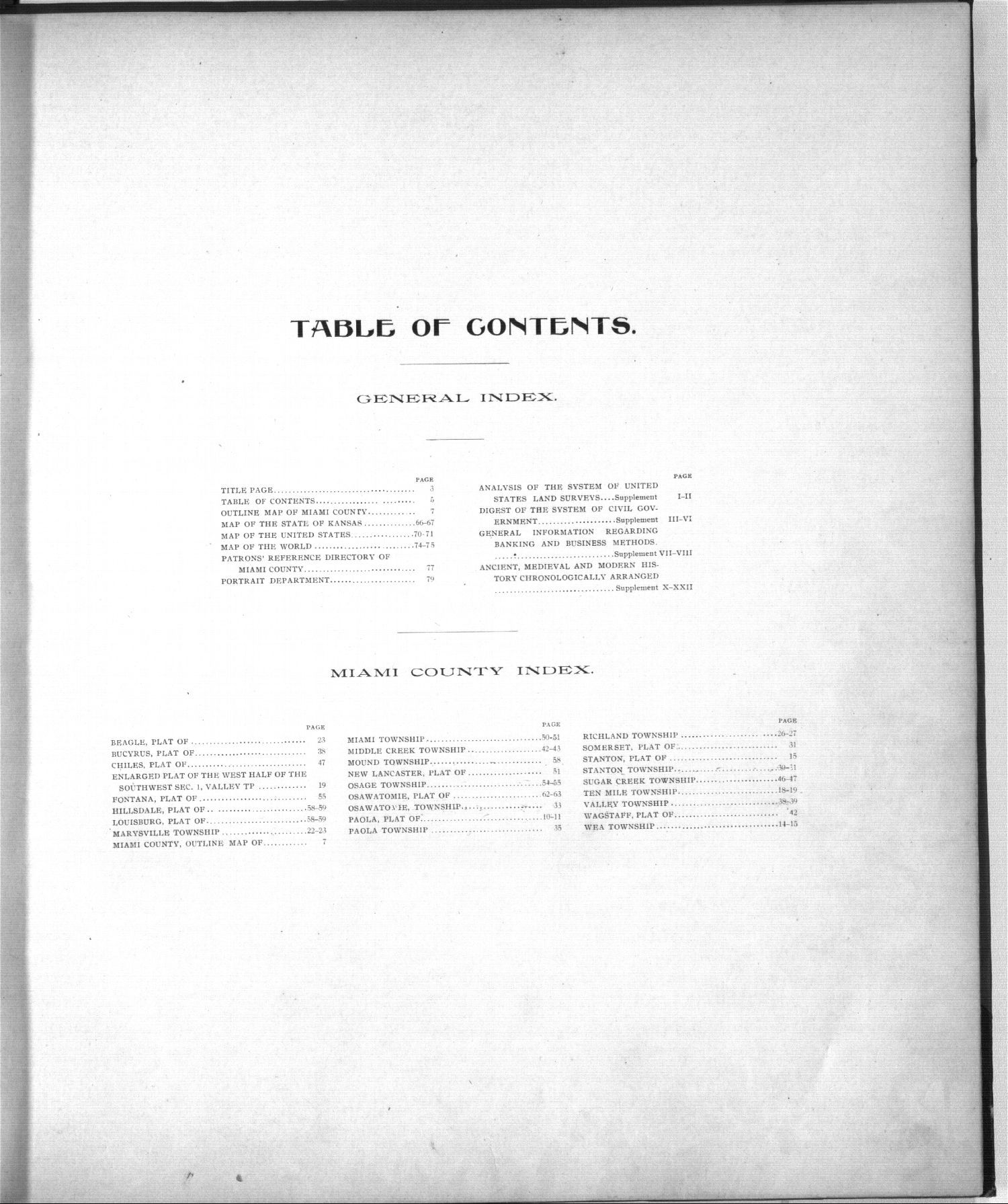 Standard atlas, Miami County, Kansas - Table of Contents