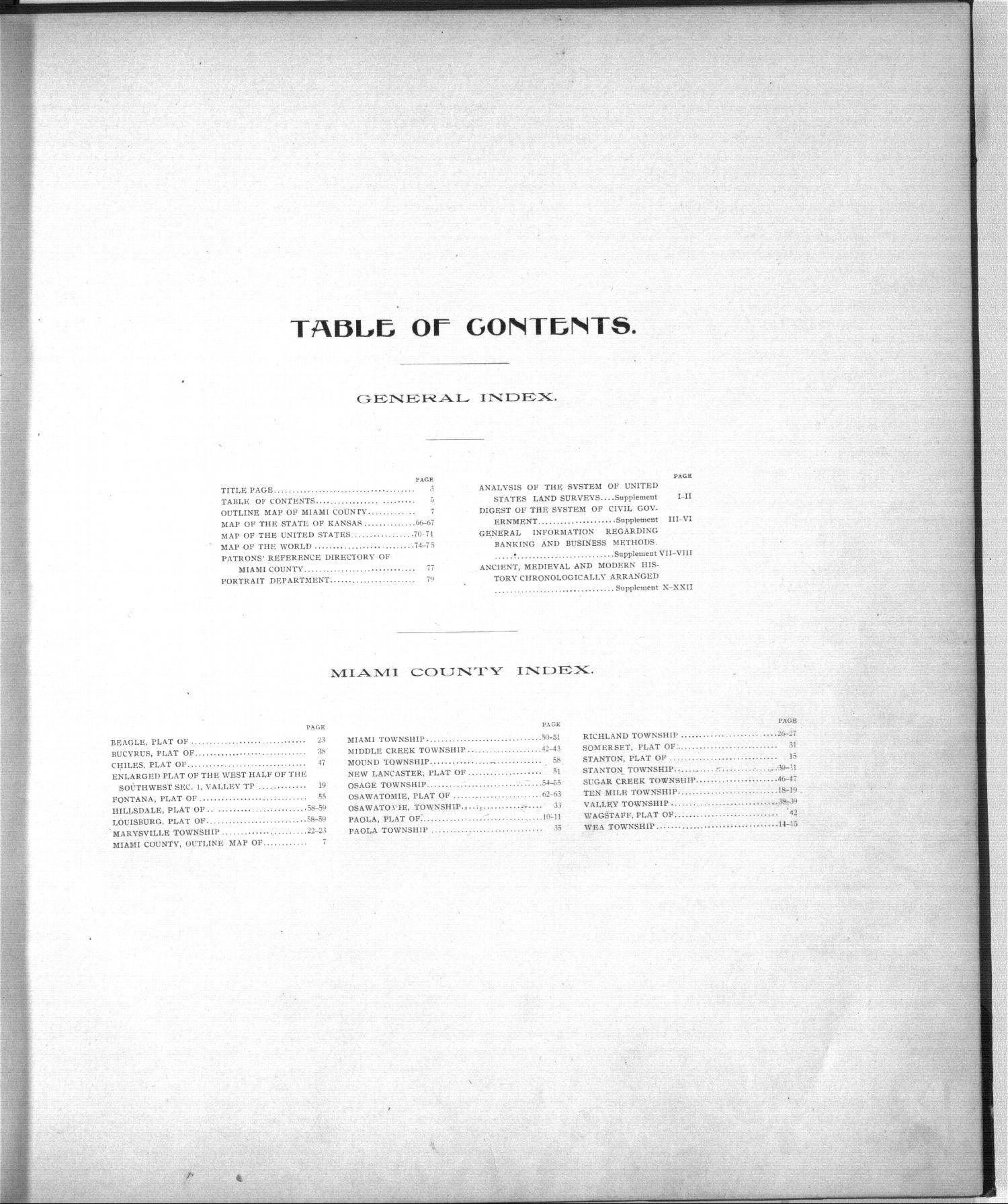 Standard atlas, Miami County, Kansas - Table of Contents