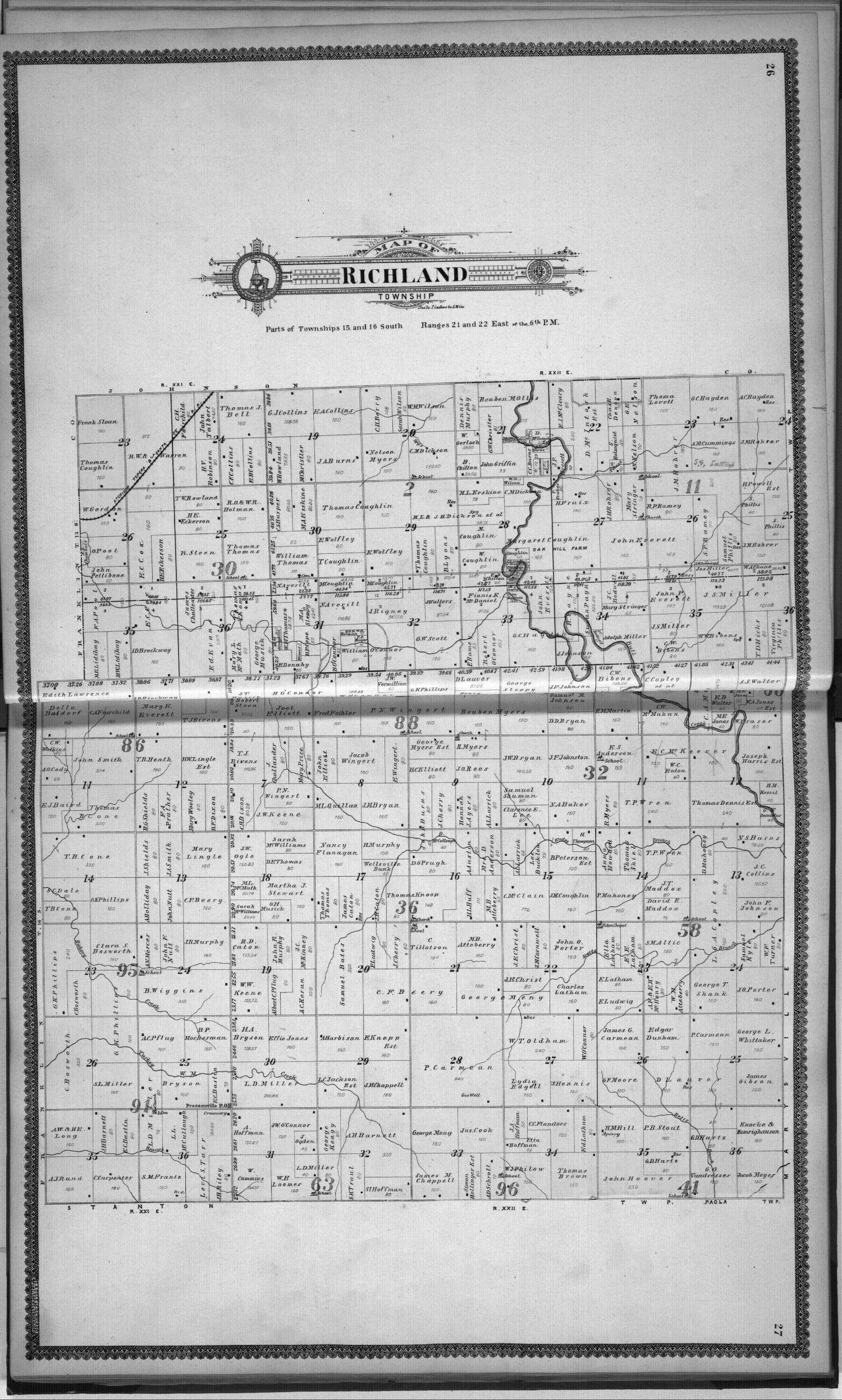 Standard atlas, Miami County, Kansas - 26 & 27
