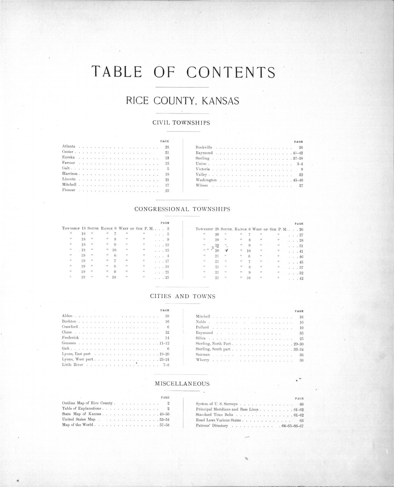Plat book of Rice County, Kansas - Table of Contents