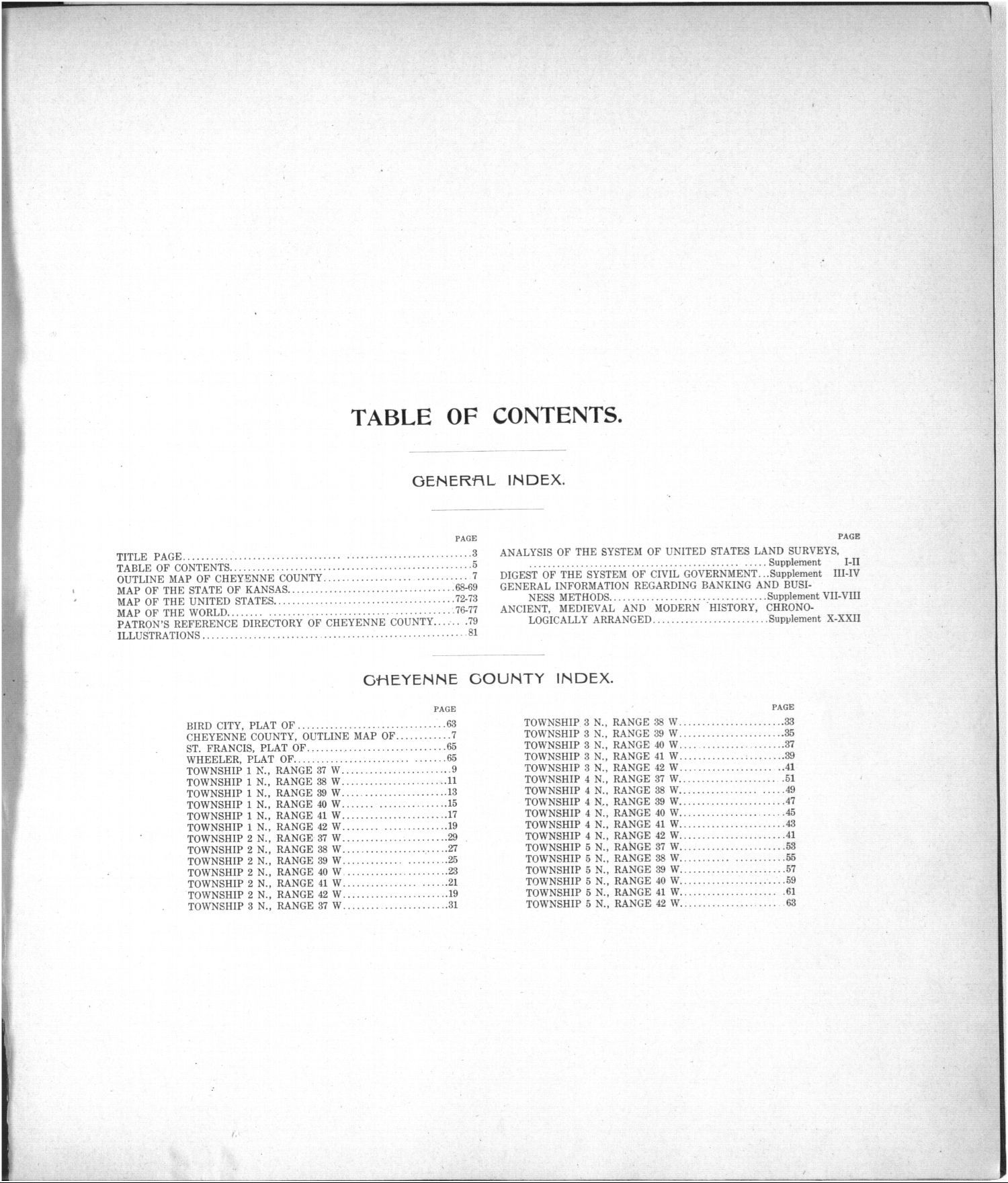 Standard atlas of Cheyenne County, Kansas - Table of Contents