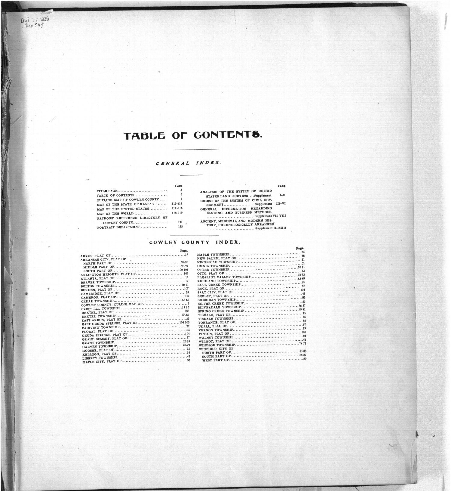 Standard atlas of Cowley County, Kansas - Table of Contents