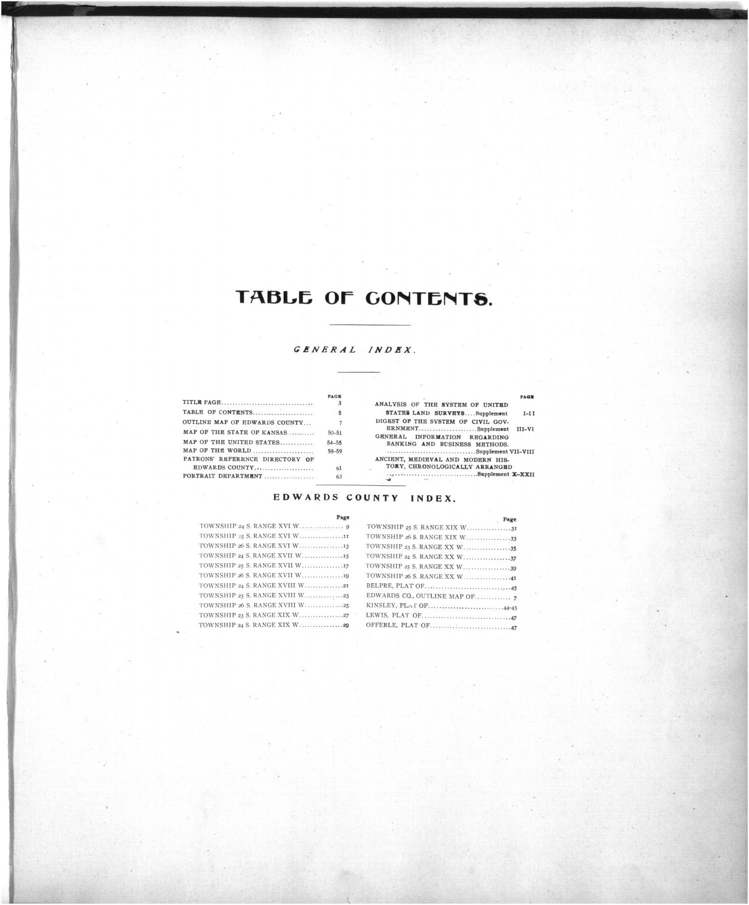 Standard atlas of Edwards County - Table of contents