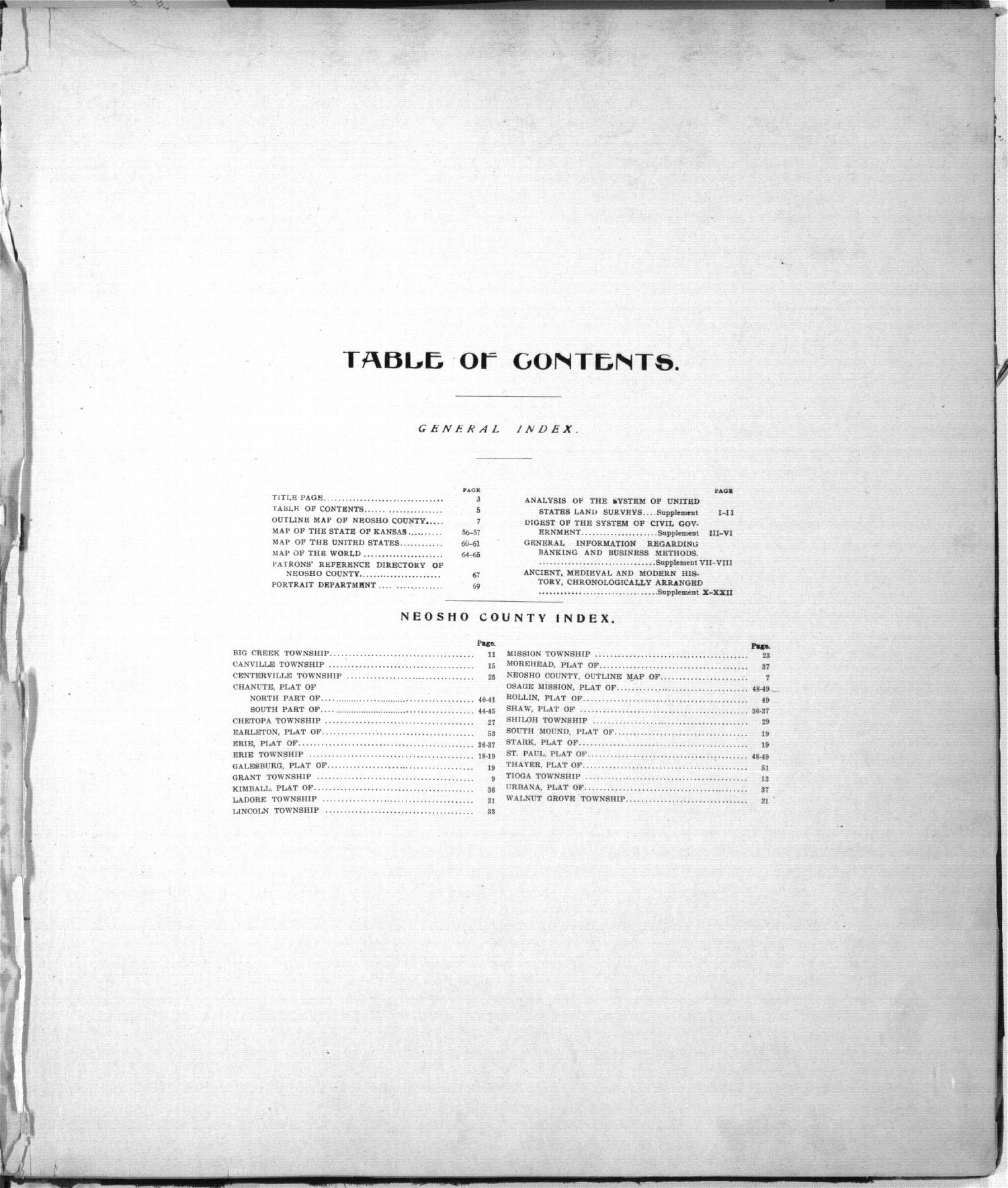 Standard atlas of Neosho County, Kansas - Table of Contents