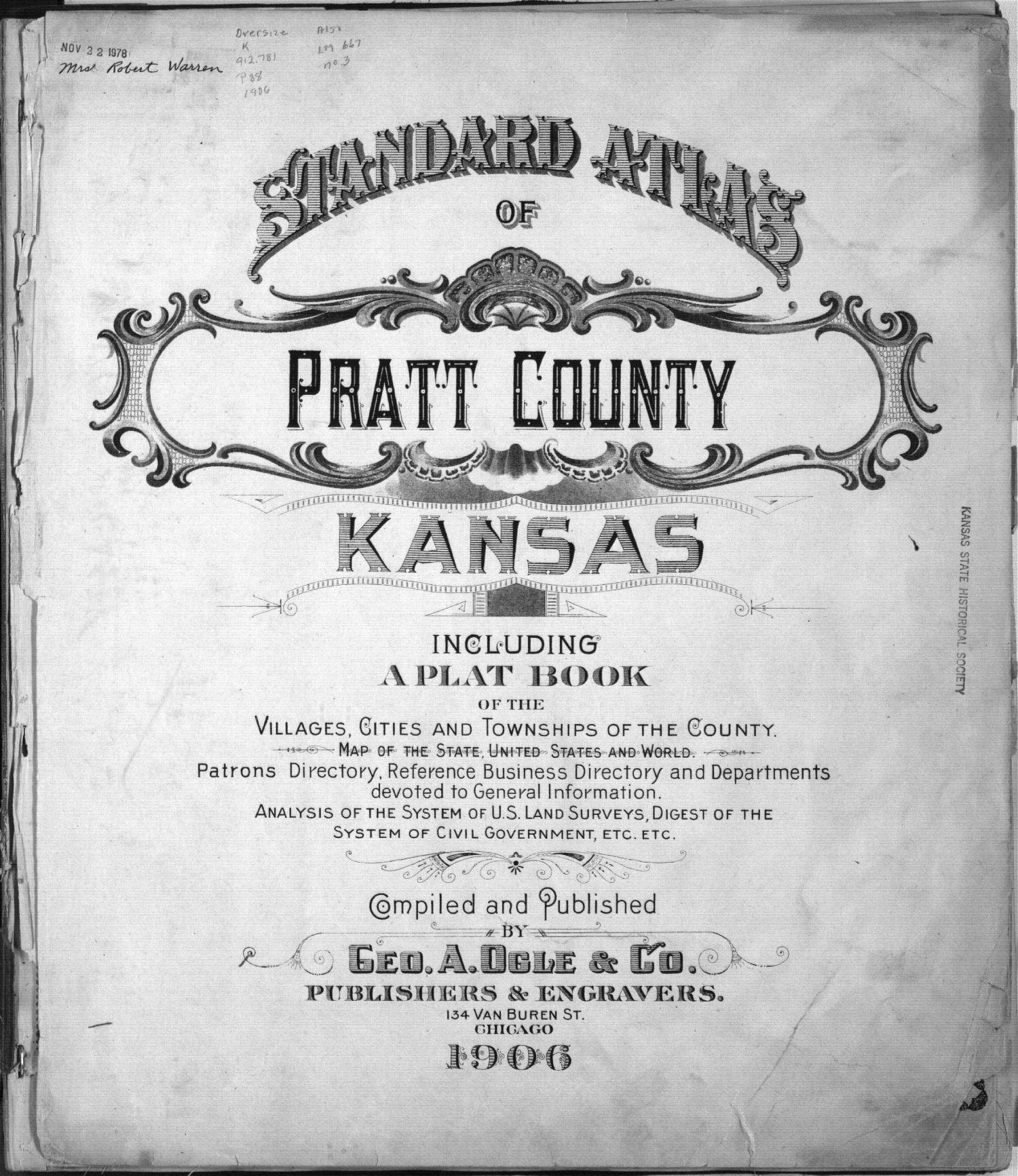 Standard atlas of Pratt County, Kansas - Title page