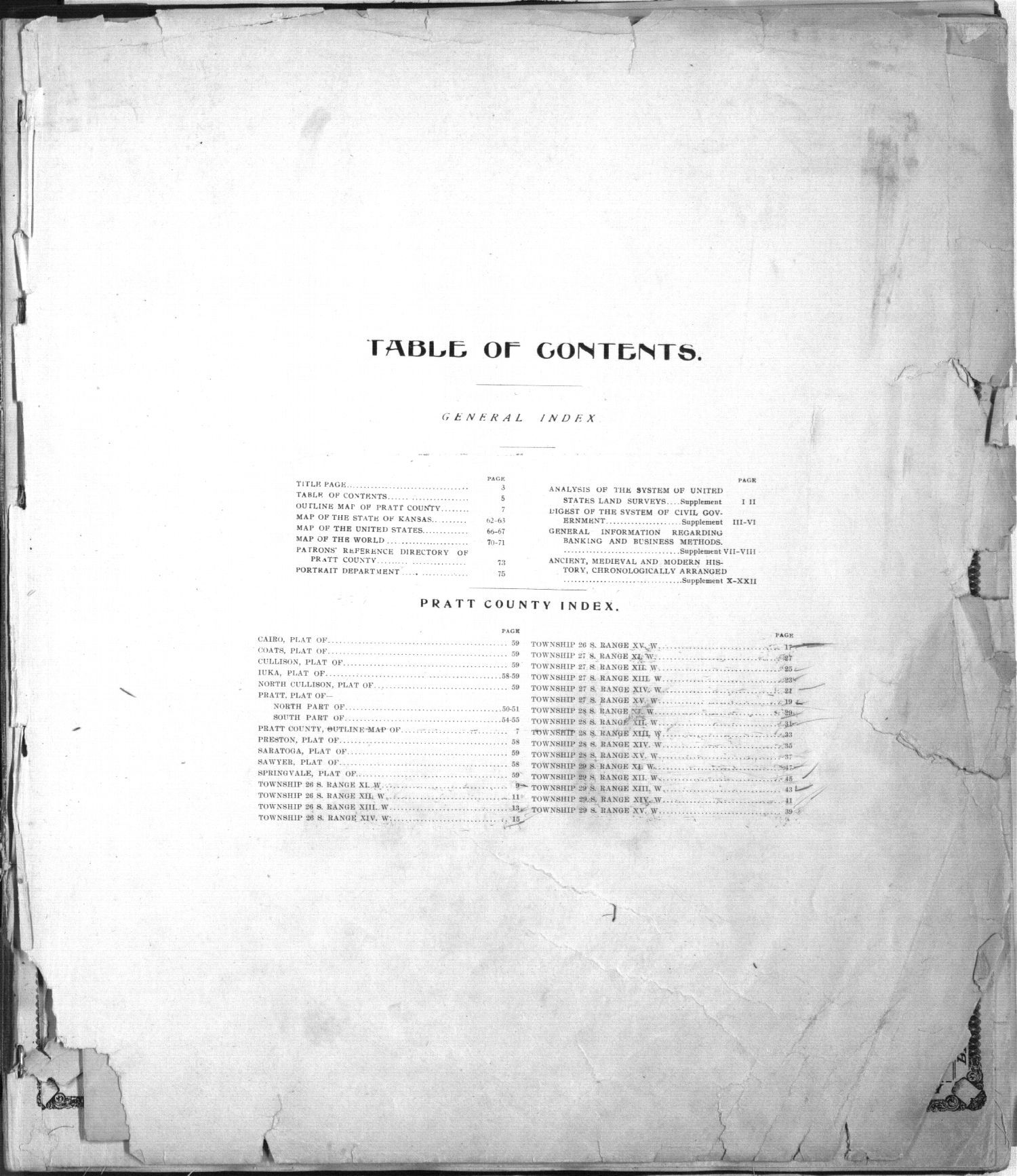 Standard atlas of Pratt County, Kansas - Table of contents