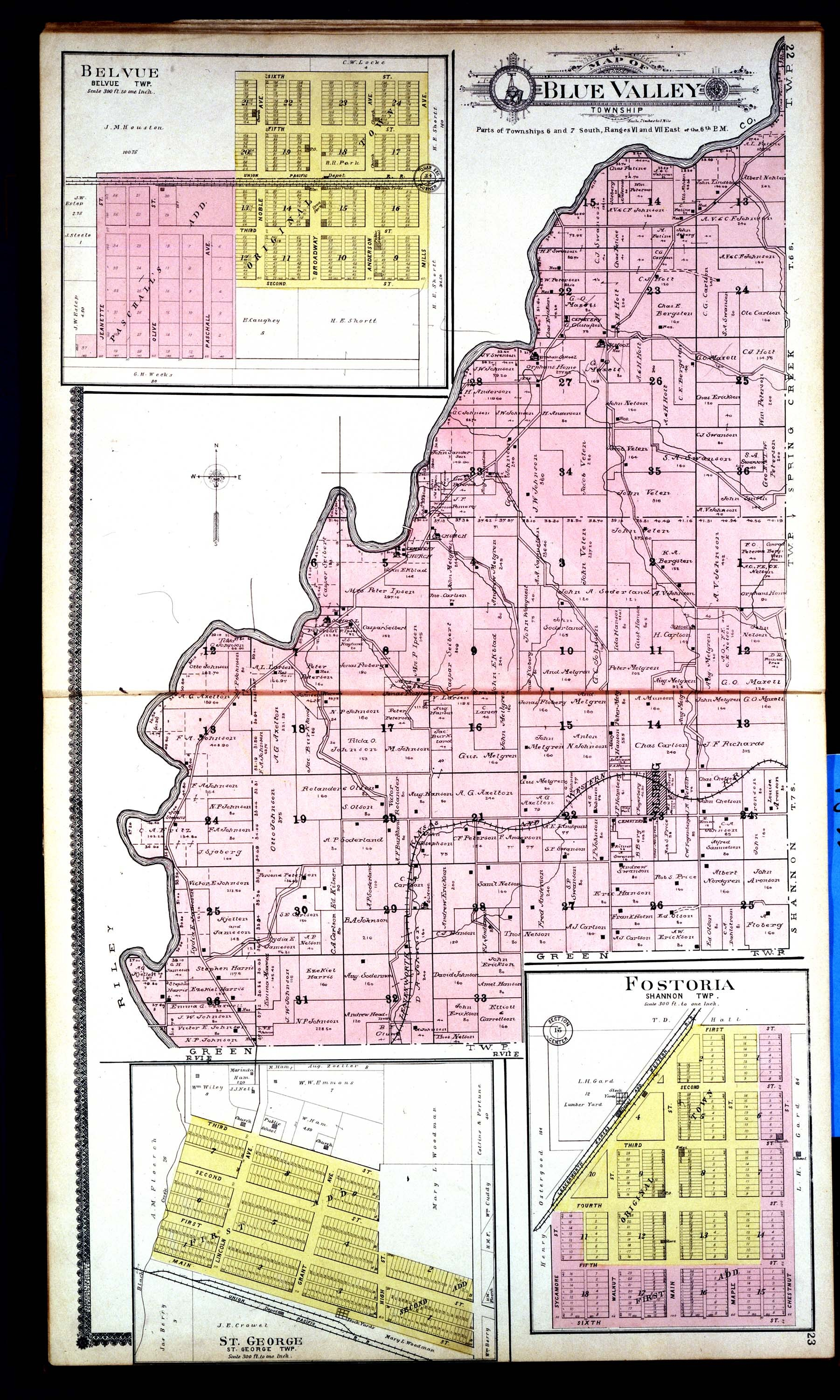 Standard atlas of Pottawatomie County, Kansas - 22 & 23