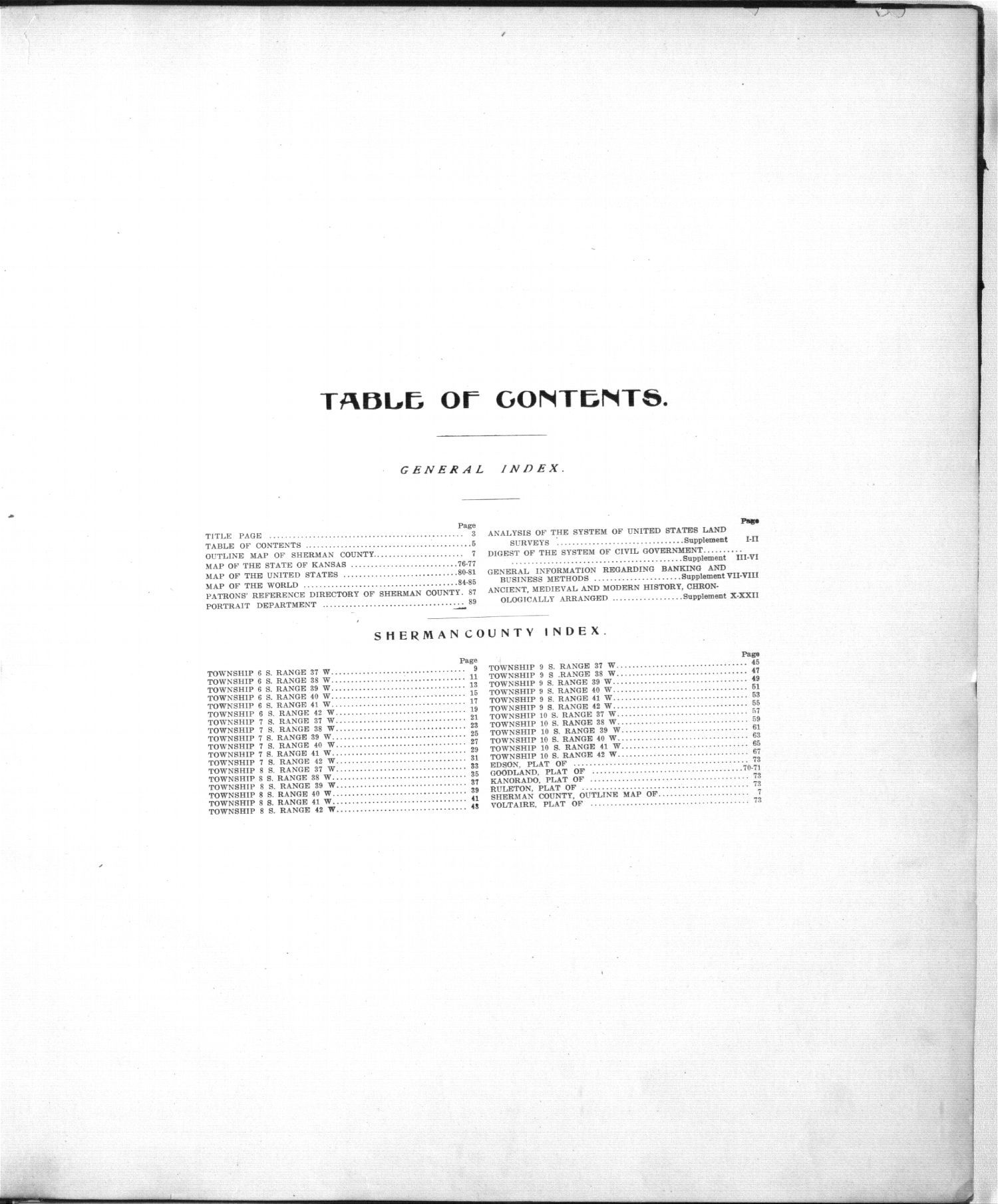 Standard atlas of Sherman County, Kansas - Table of Contents