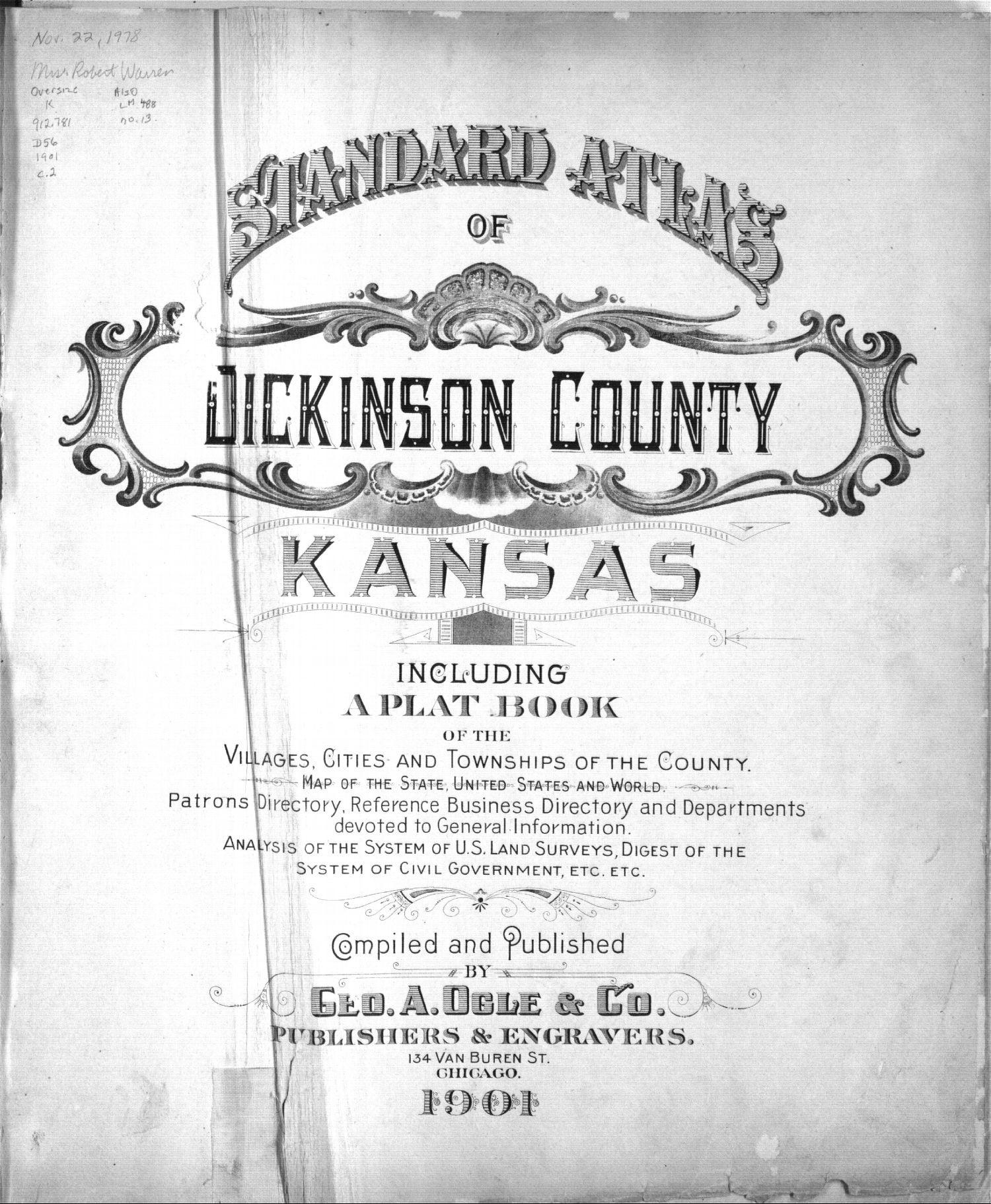 Standard atlas, Dickinson County, Kansas - Title Page