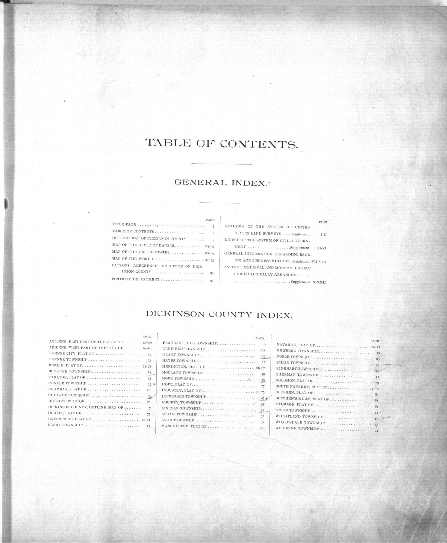 Standard atlas, Dickinson County, Kansas - Table of Contents