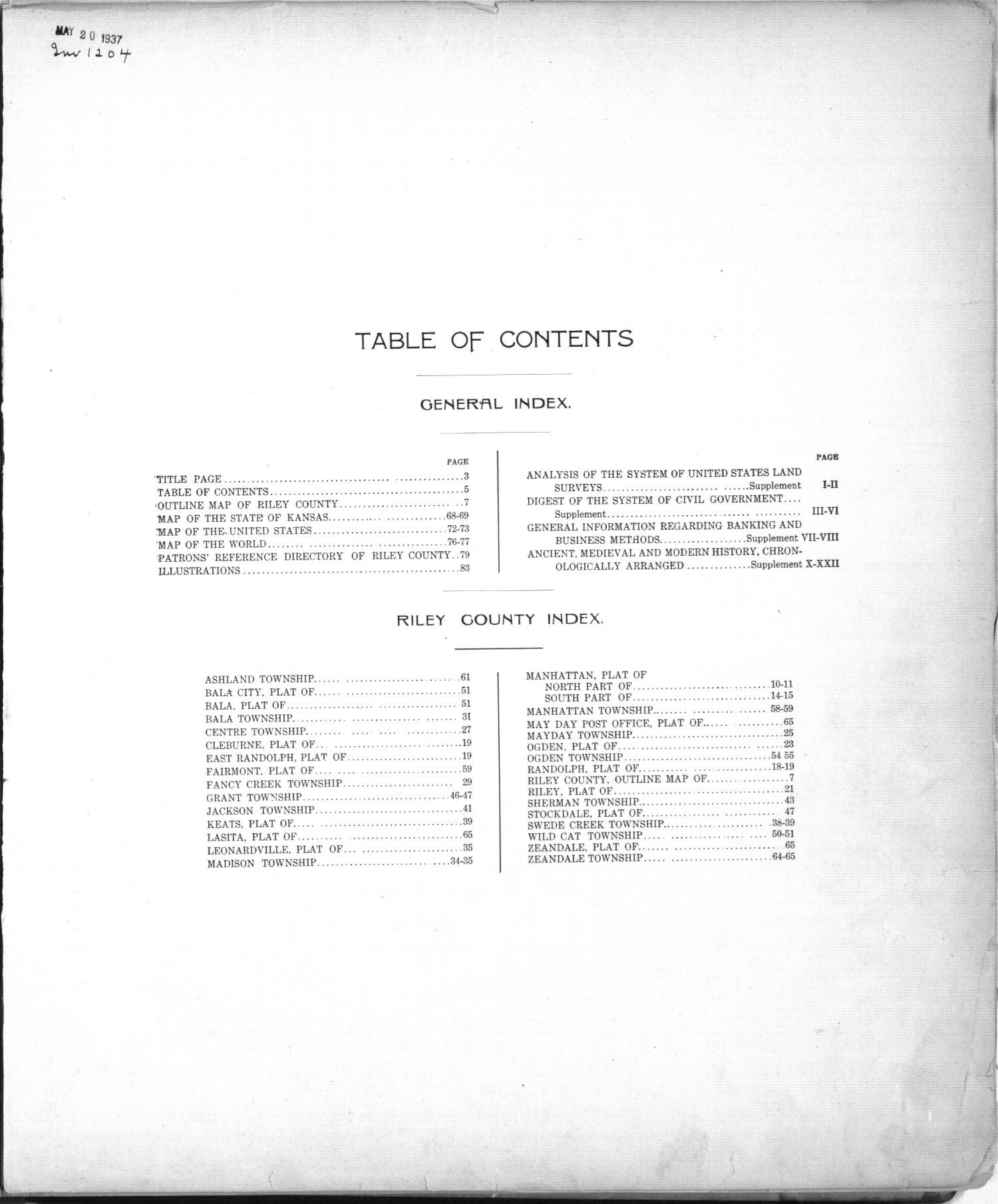 Standard atlas of Riley County, Kansas - Table of Contents
