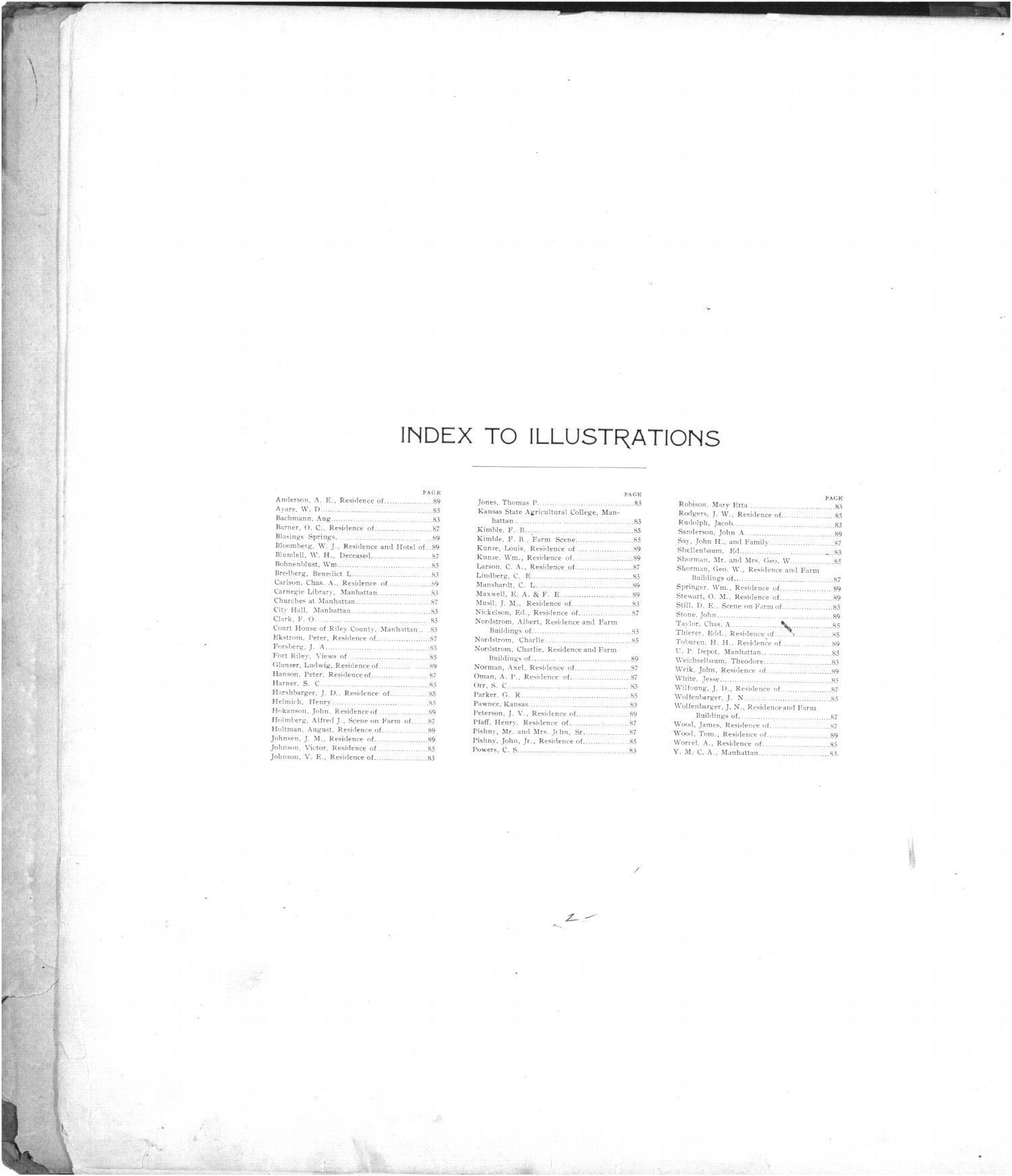 Standard atlas of Riley County, Kansas - Index to Illustrations