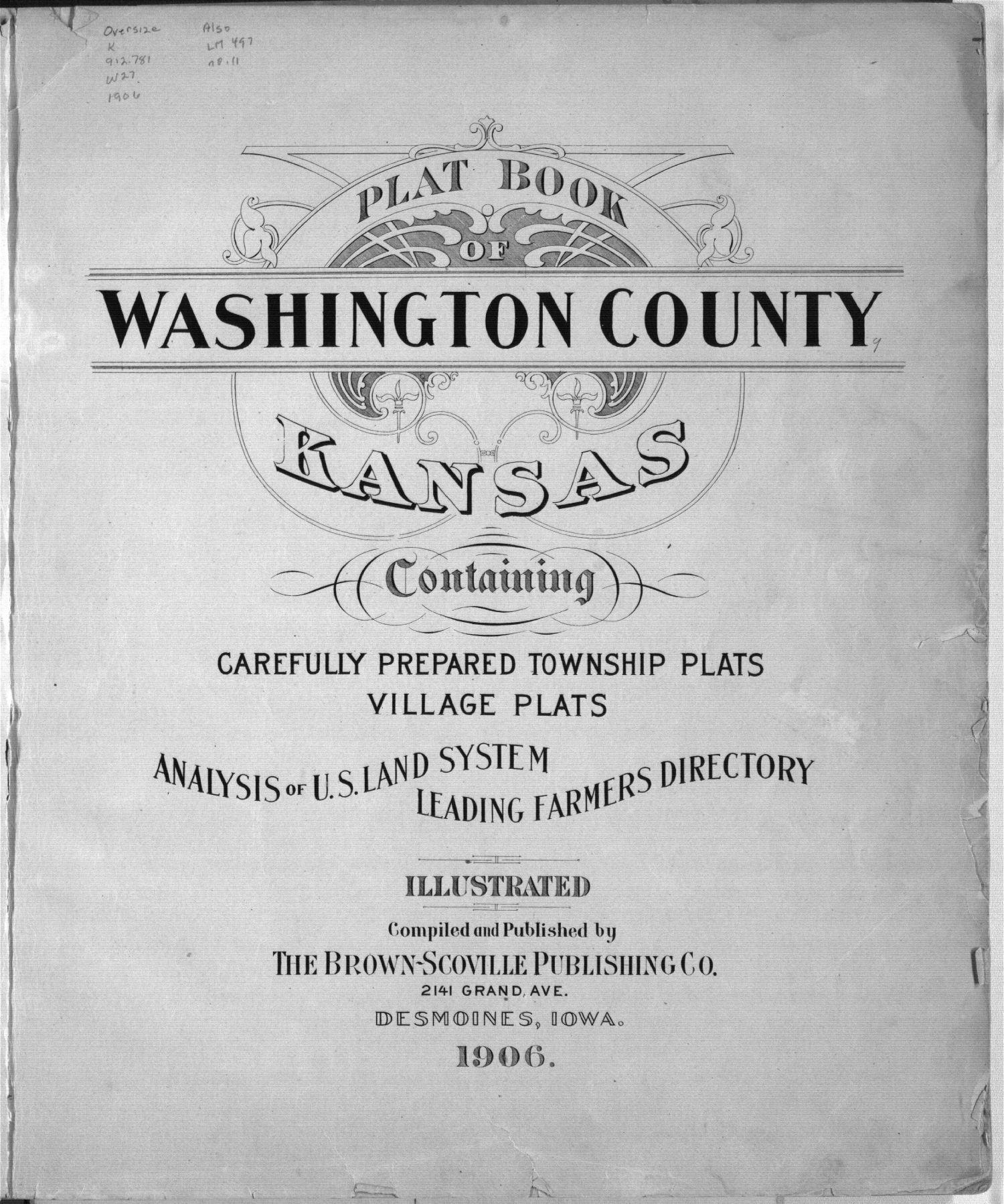 Plat book of Washington County, Kansas - Title Page