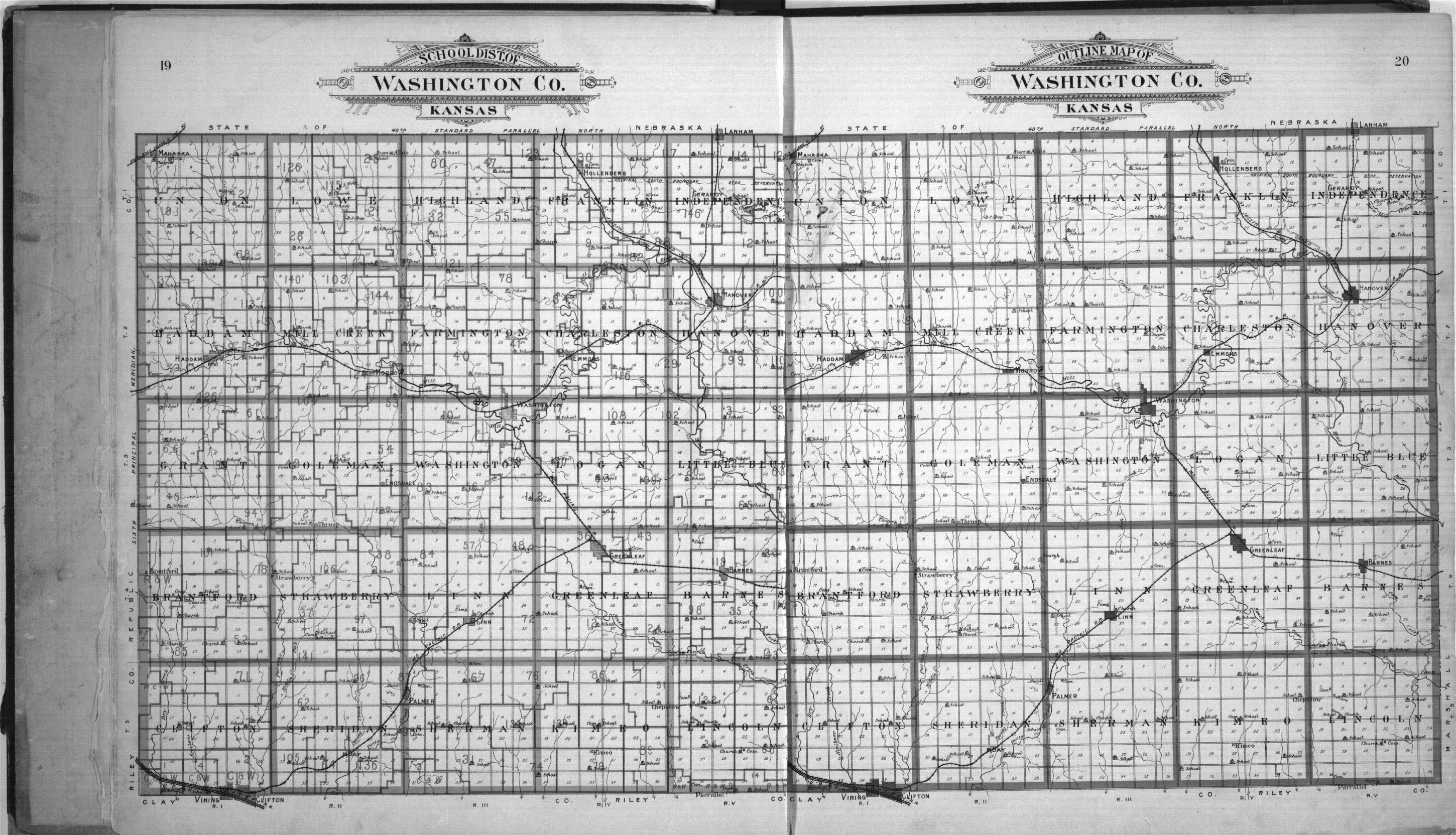 Plat book of Washington County, Kansas - 19 & 20