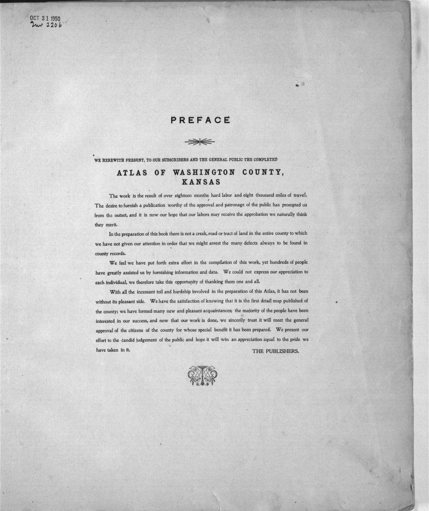 Plat book of Washington County, Kansas - Preface