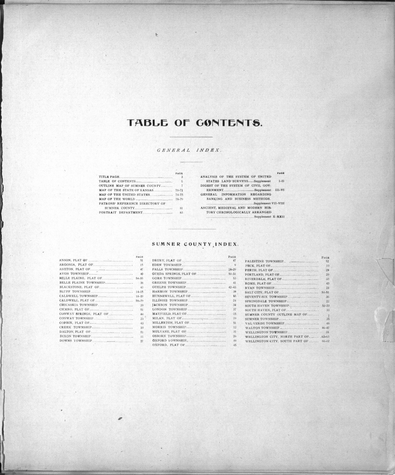 Standard atlas of Sumner County, Kansas - Table of Contents