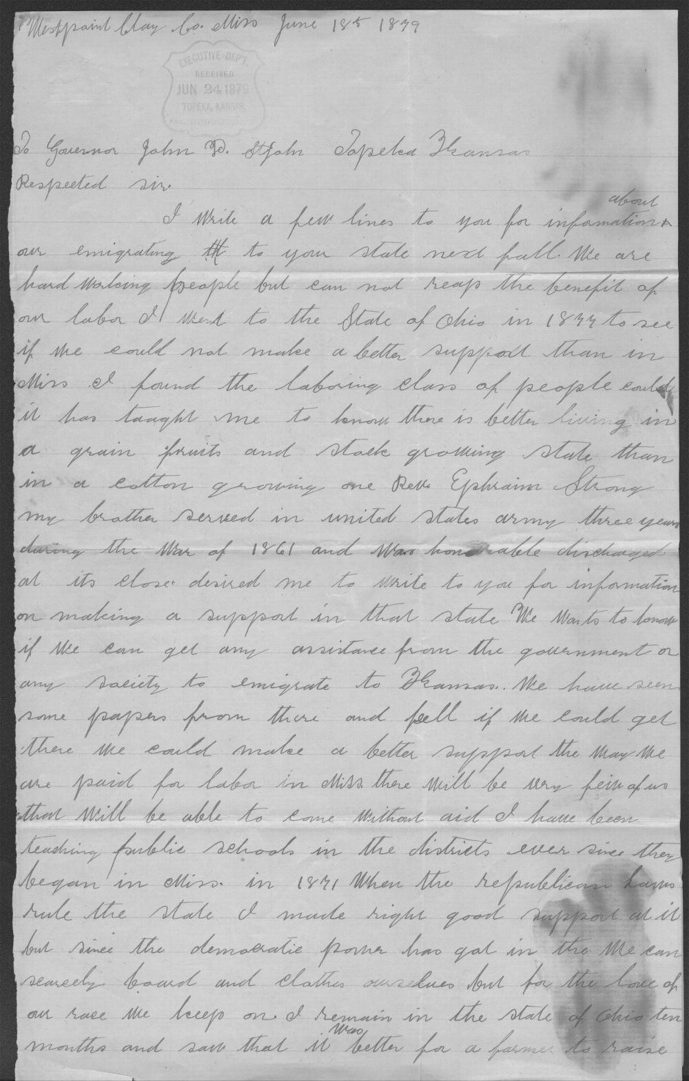 Roseline Cunningham to John P. St. John - 1