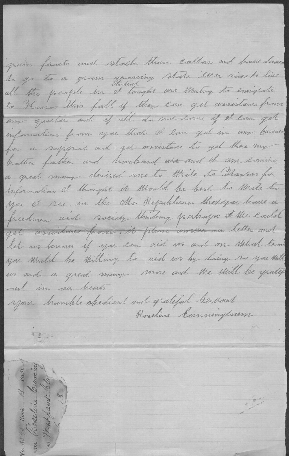 Roseline Cunningham to John P. St. John - 2