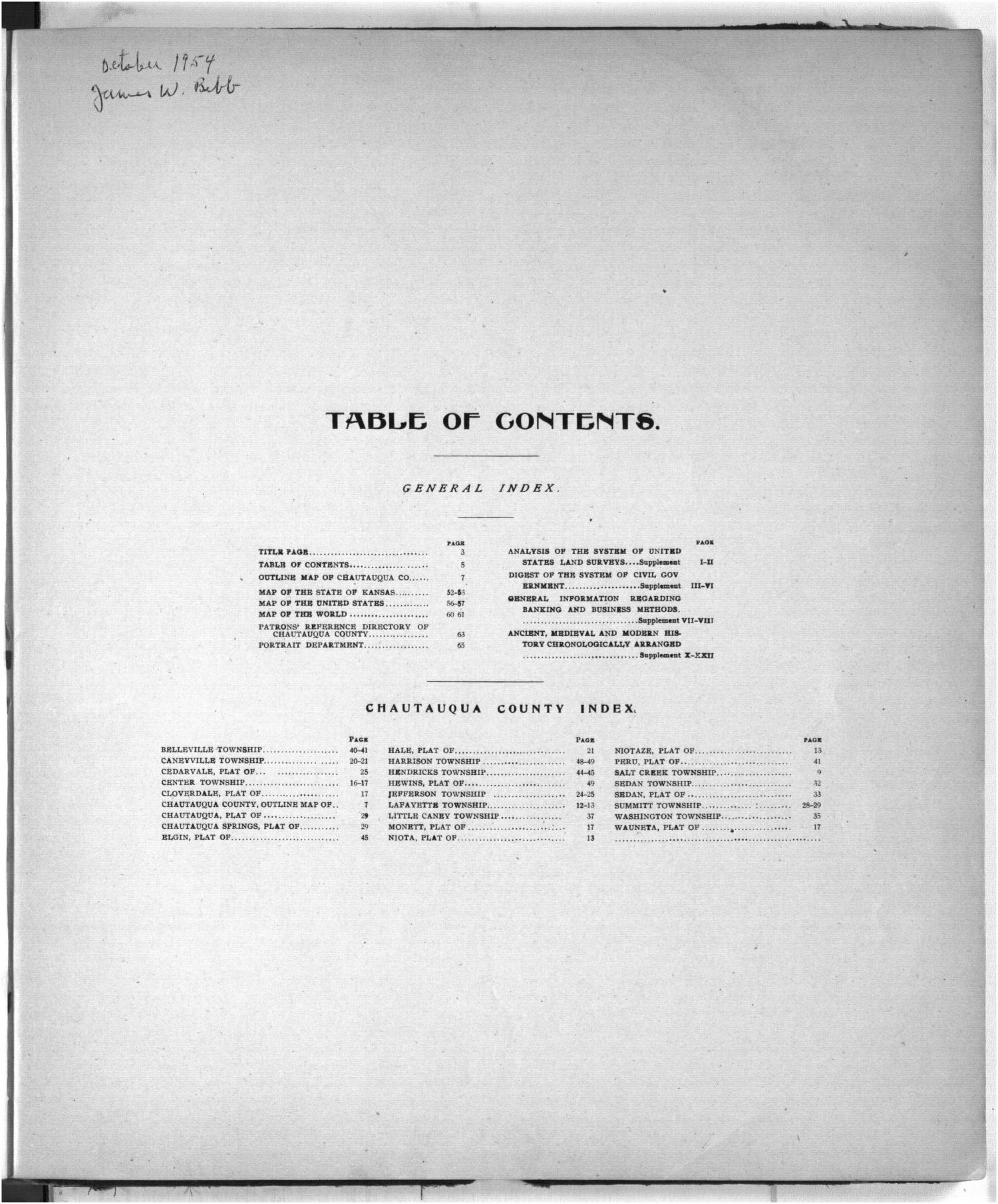 Standard atlas of Chautauqua County, Kansas - Table of Contents