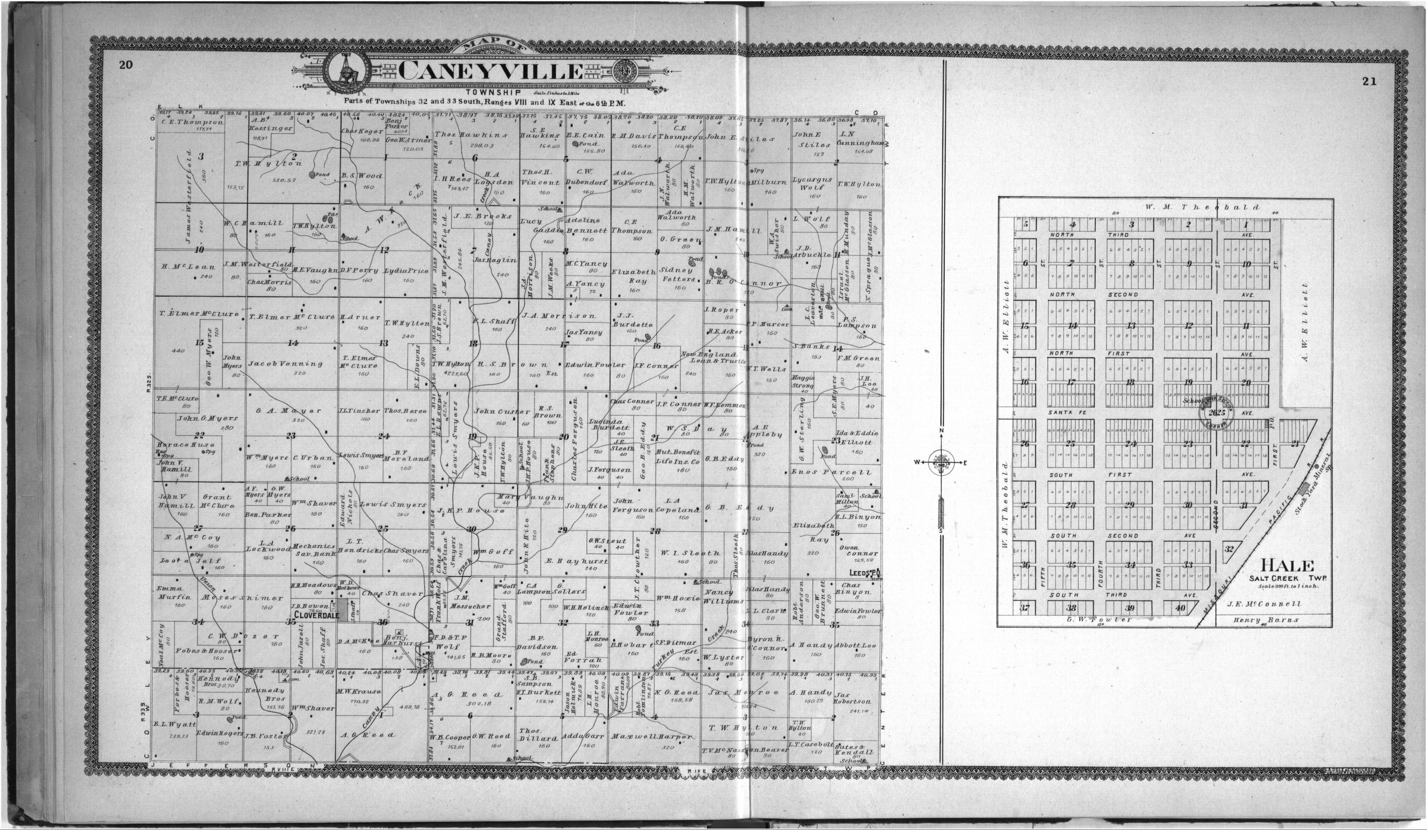 Standard atlas of Chautauqua County, Kansas - 20 & 21