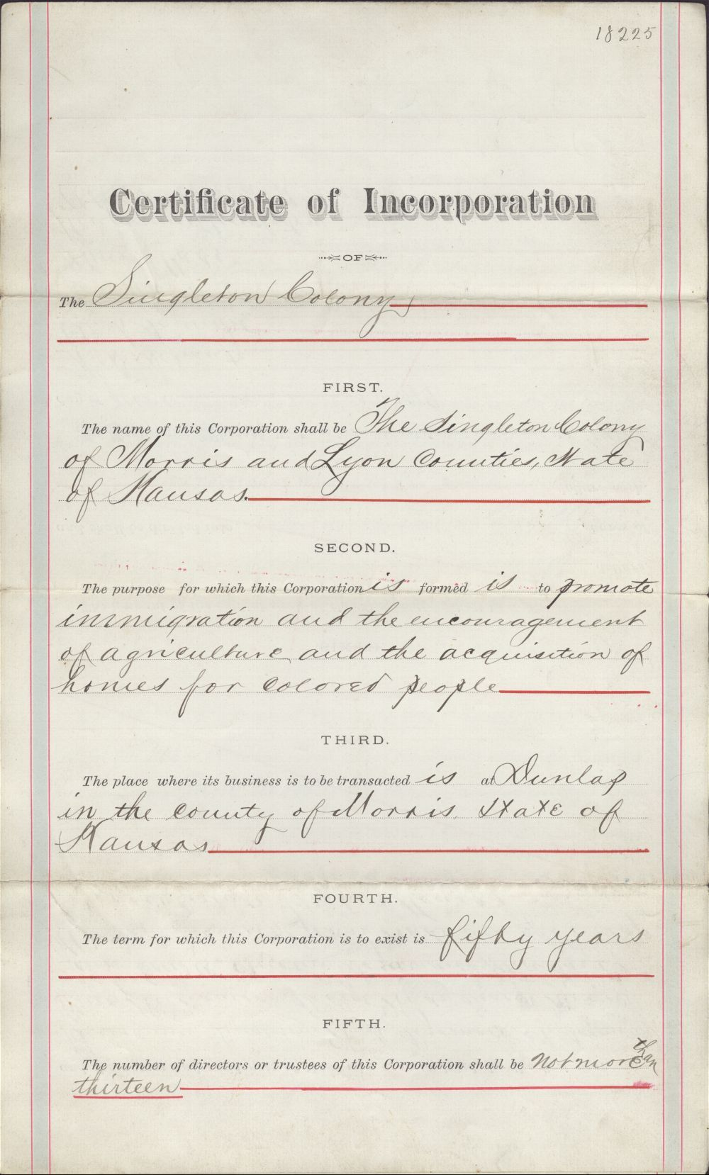 Certificate of Incorporation for the Singleton colony - 1