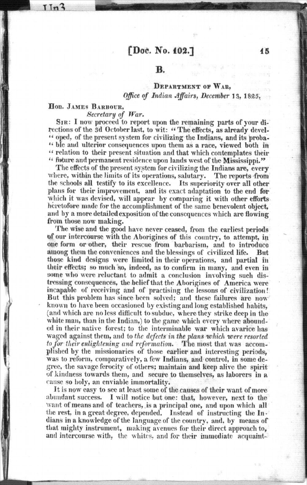 Thomas L. McKenney to James Barbour - 1