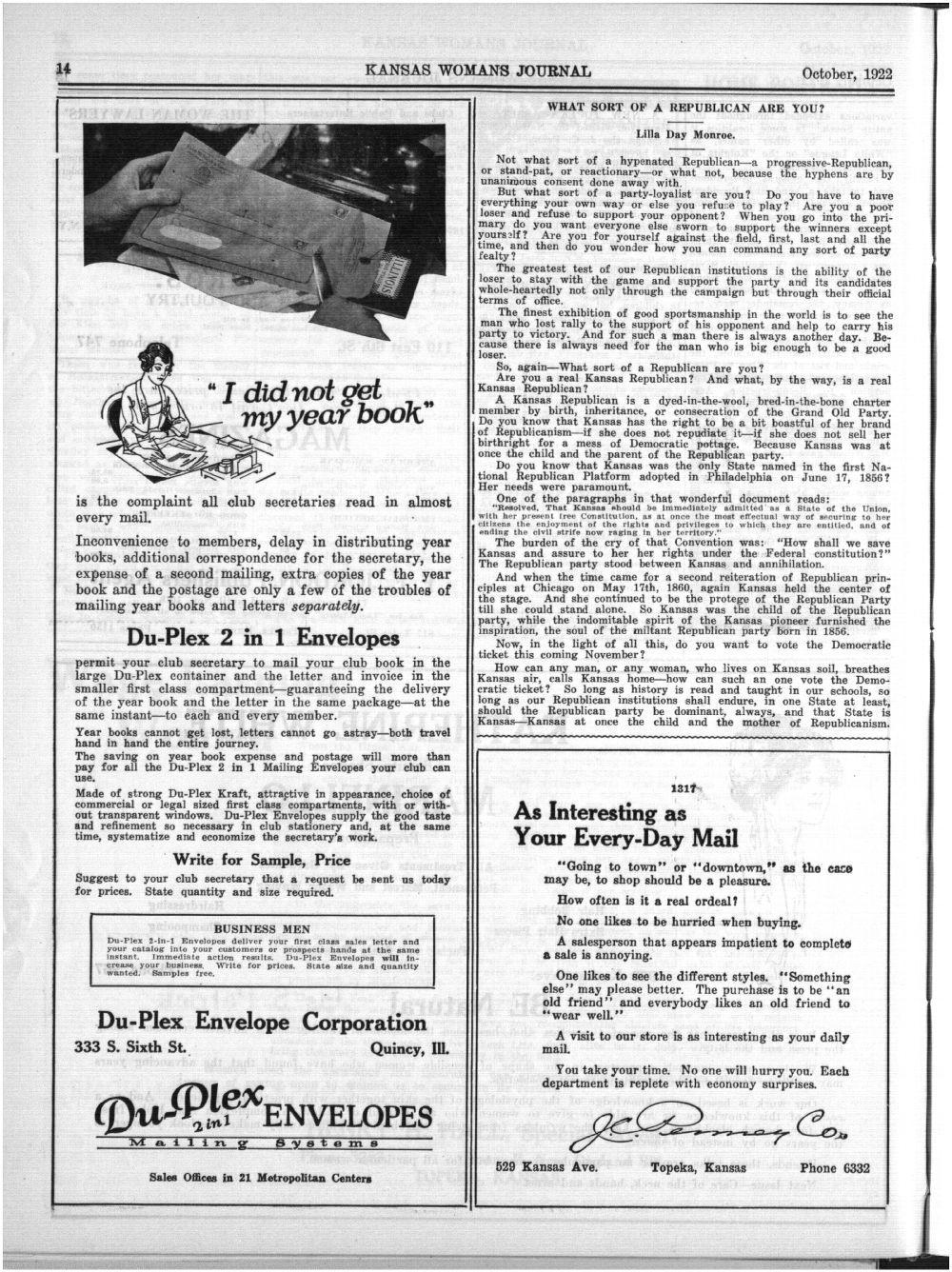 Kansas Womans Journal, October, 1922 - 14