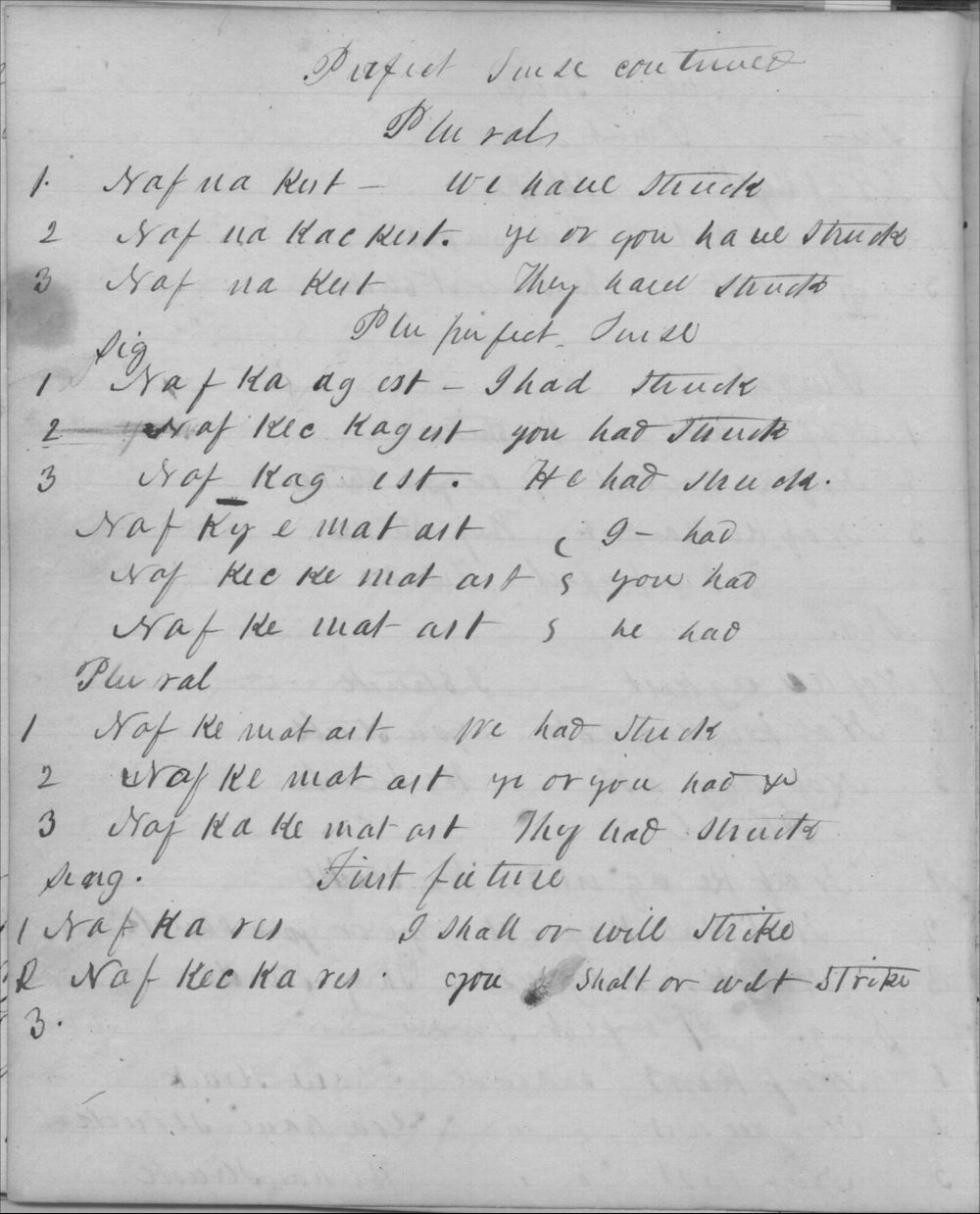 Johnston Lykins' Shawnee verb conjugations - 2
