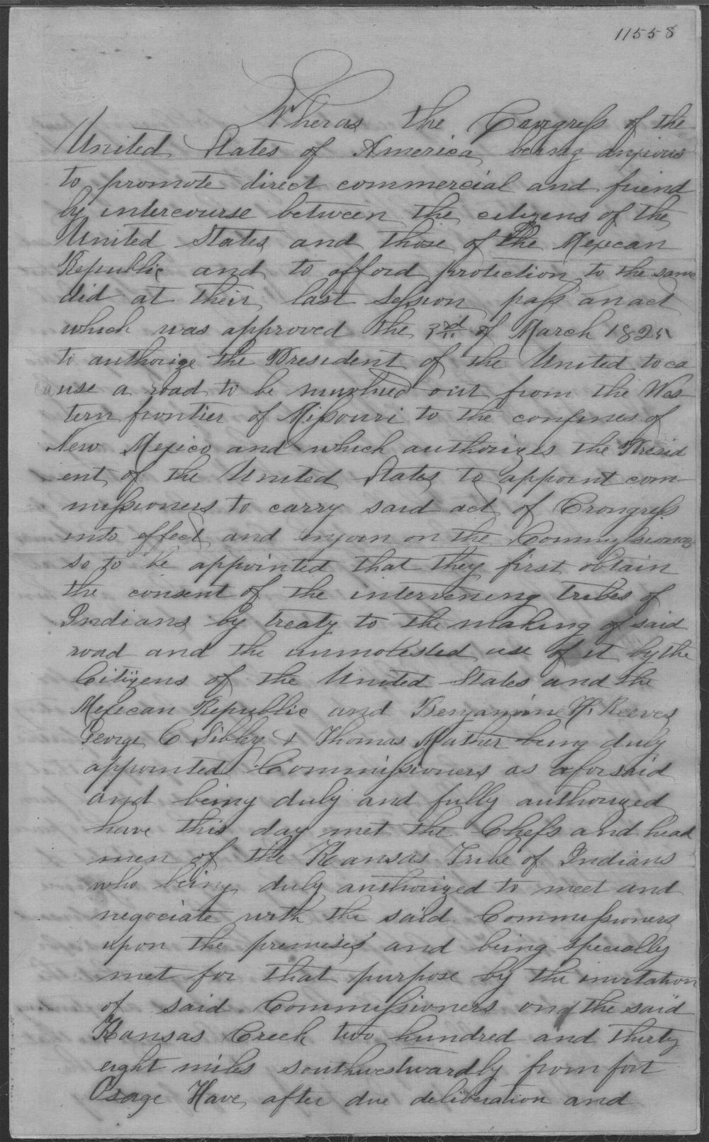 Treaty between the U.S. government and Kansa tribe - 1