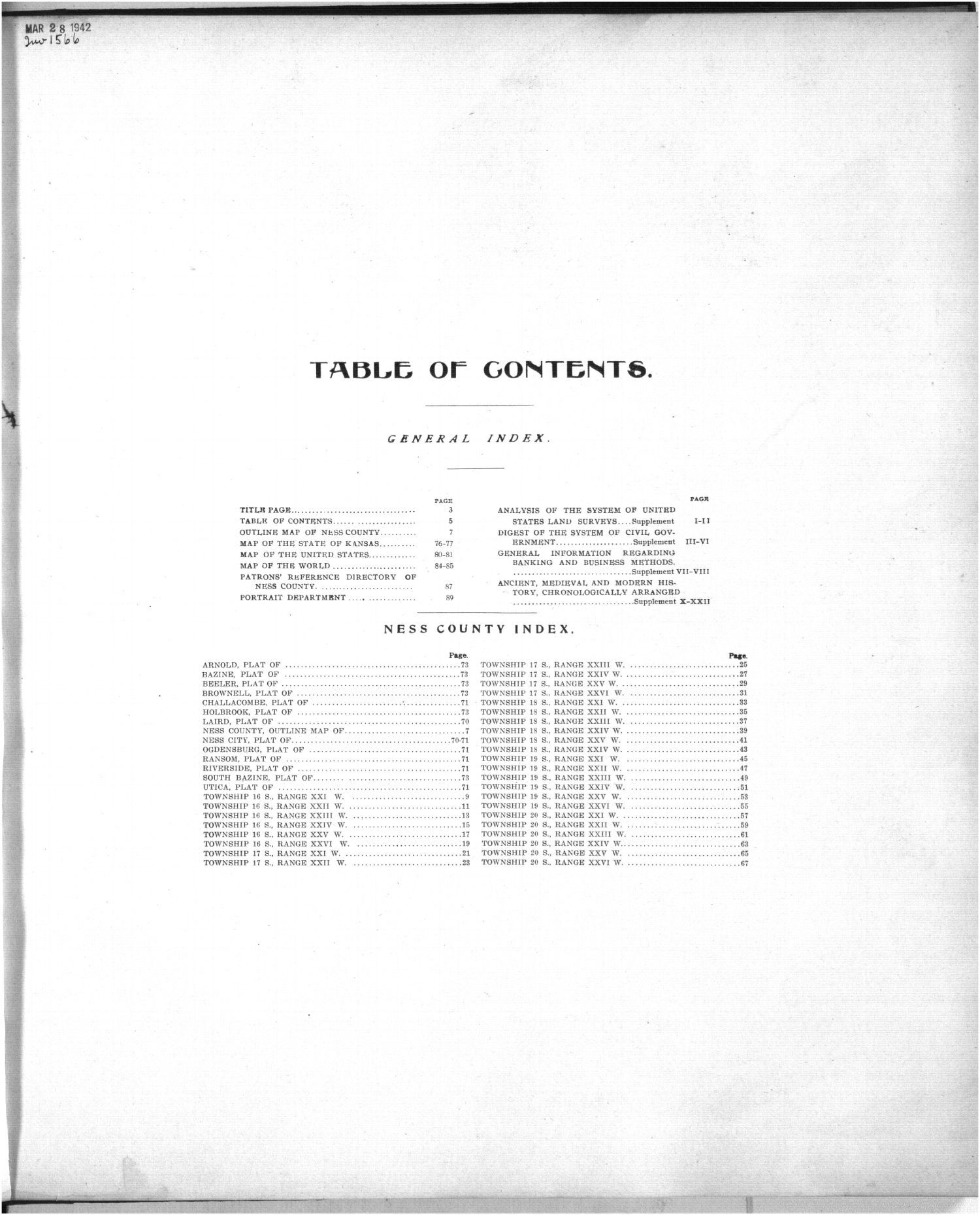 Standard atlas of Ness County, Kansas - Table of Contents
