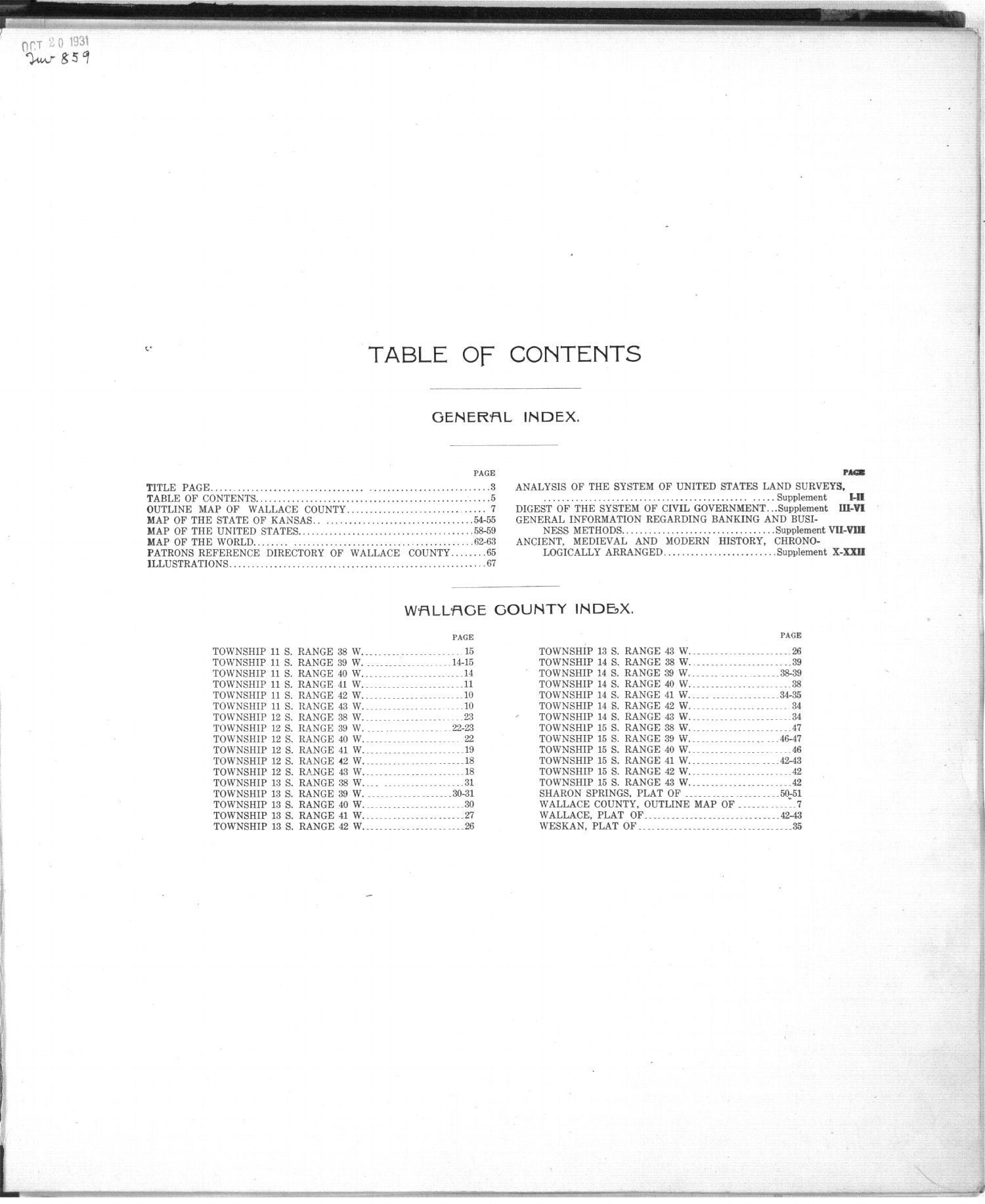 Standard atlas of Wallace County, Kansas - Table of Contents