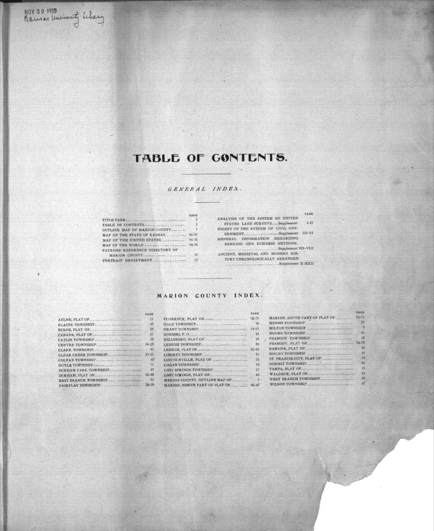 Standard atlas of Marion County, Kansas - Table of Contents