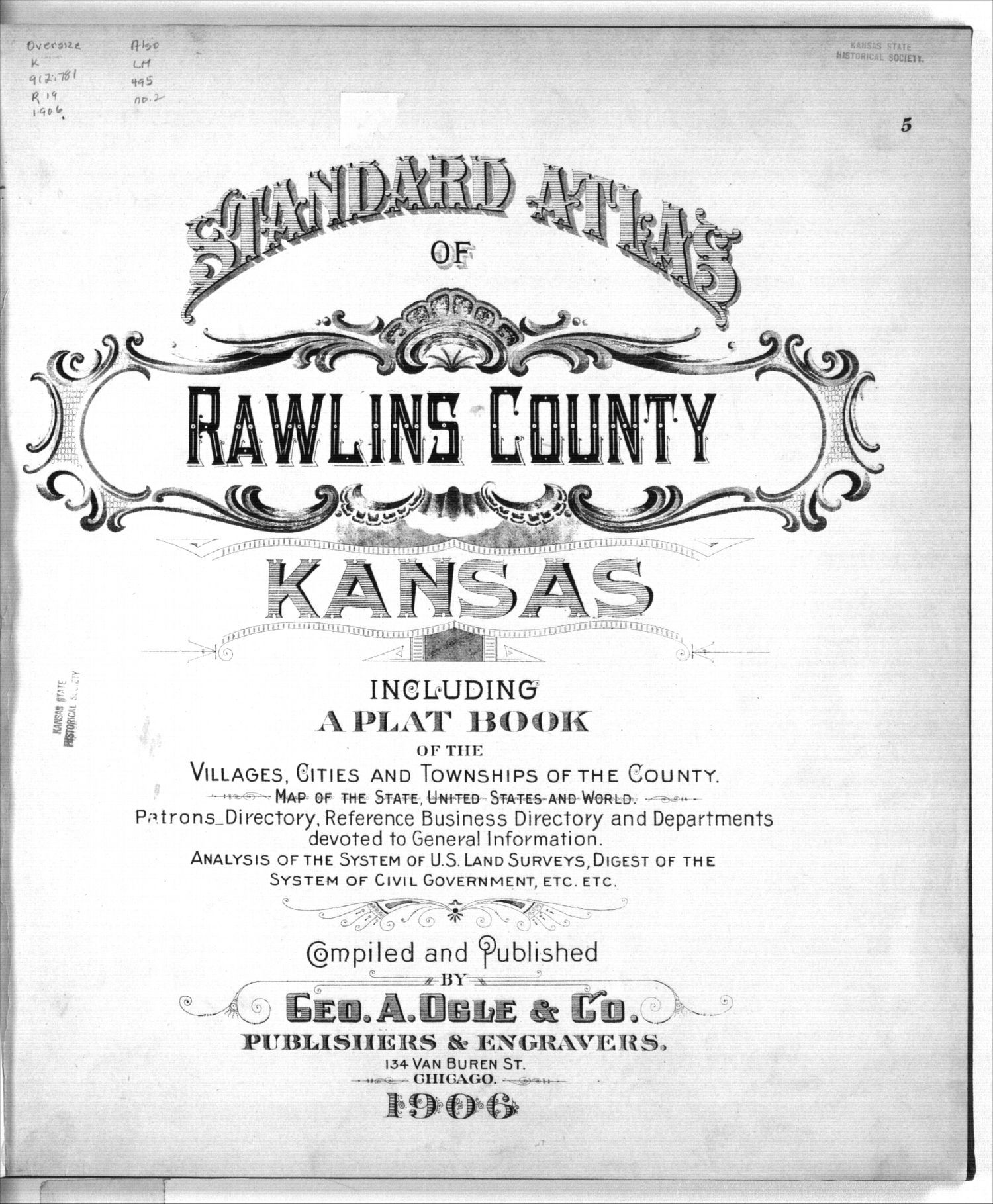 Standard atlas of Rawlins County, Kansas - Title Page