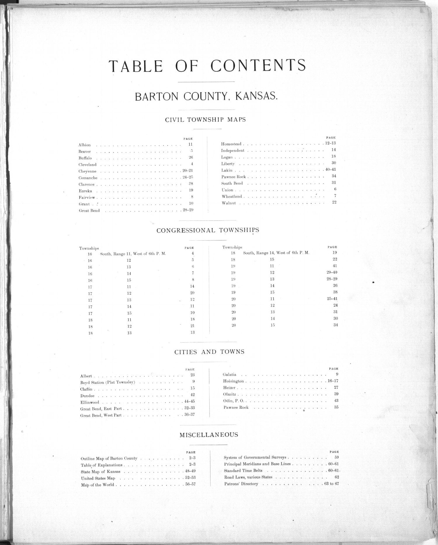 Plat book, Barton County, Kansas - Table of Contents