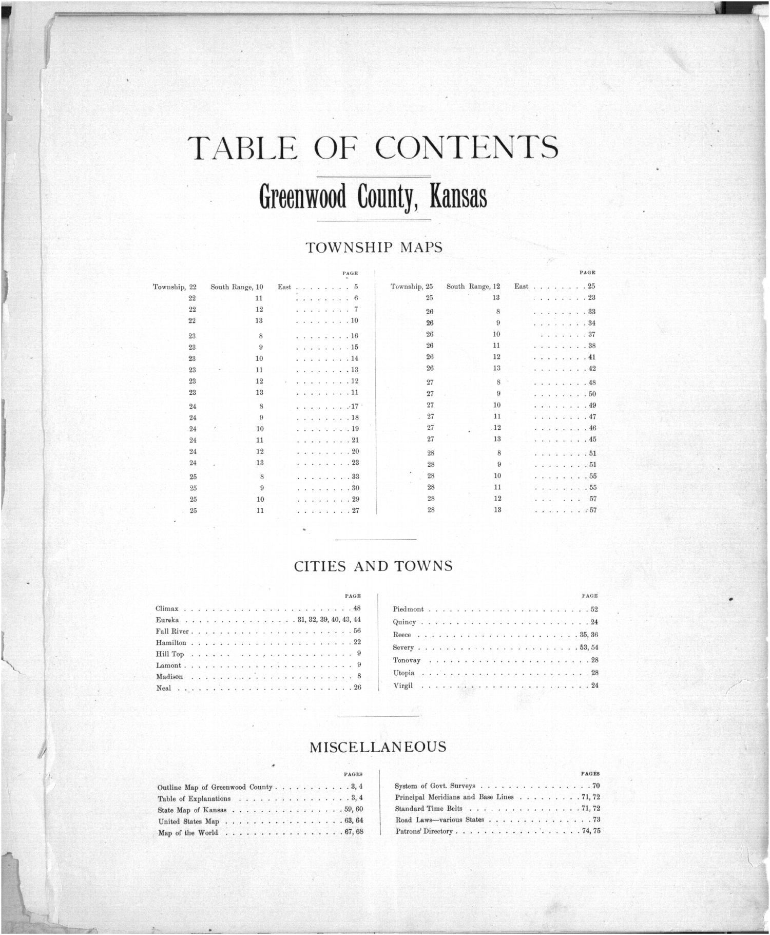Plat book of Greenwood County, Kansas - Table of Contents