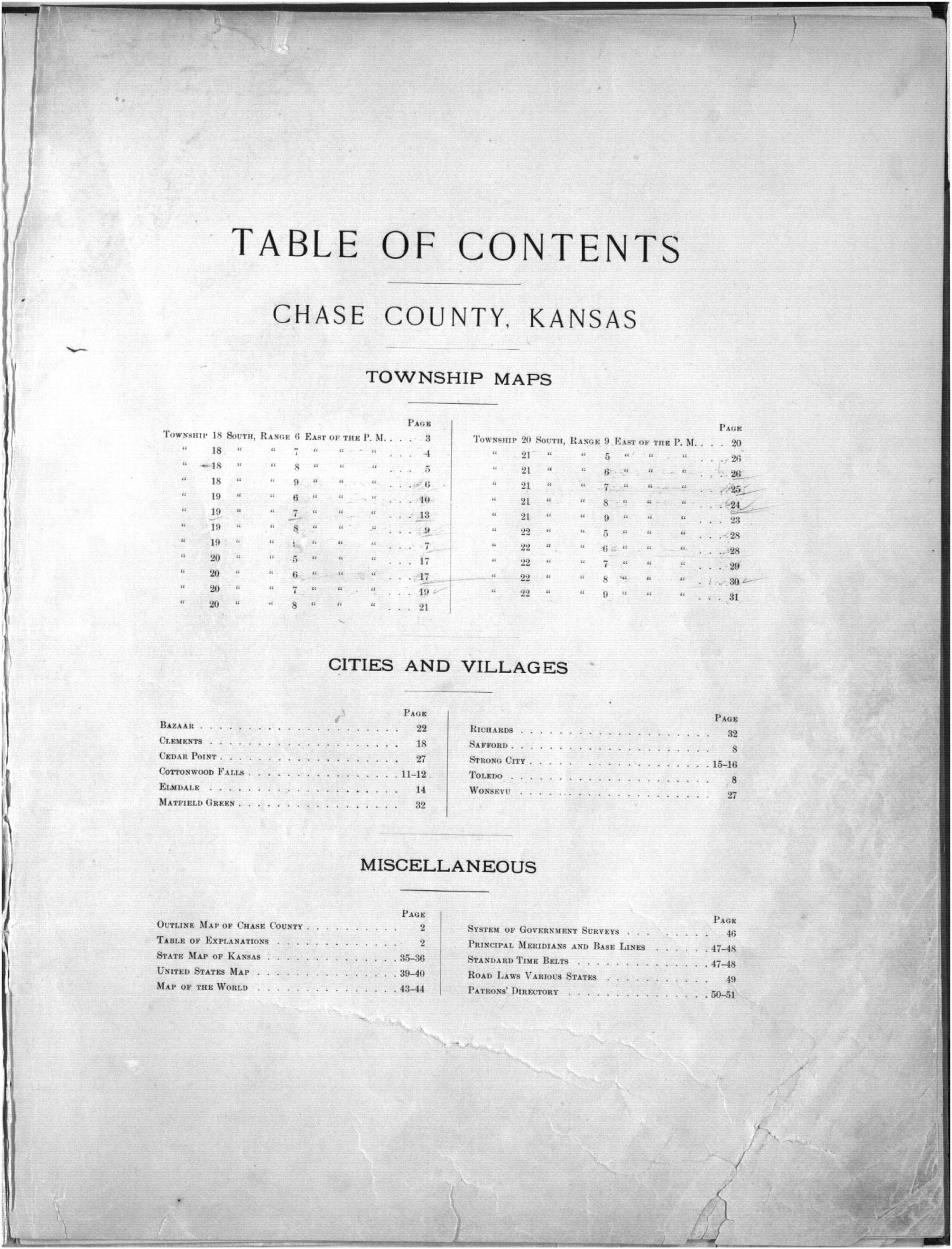 Plat book, Chase County, Kansas - Table of Contents
