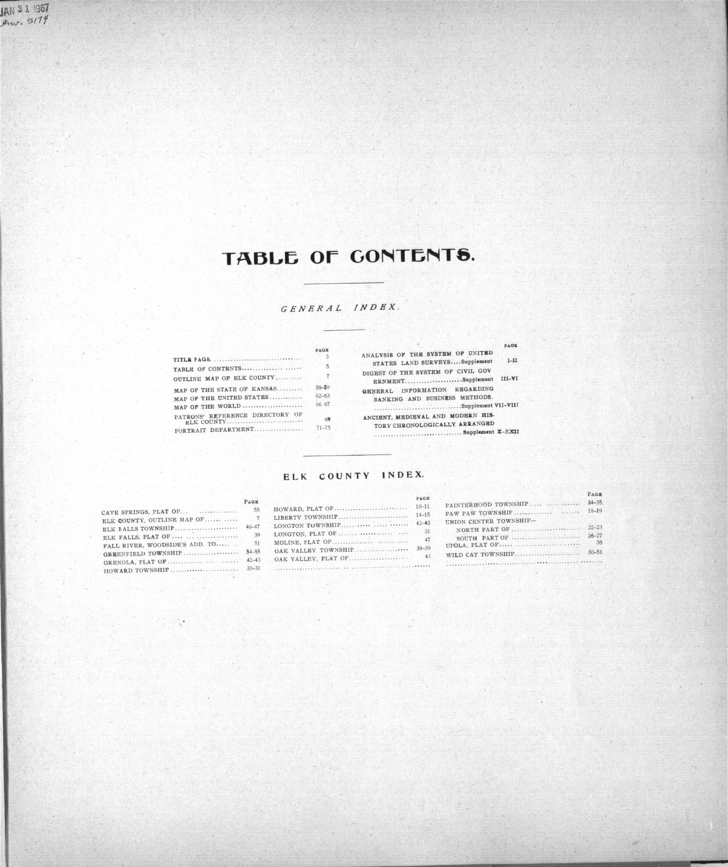 Standard atlas of Elk County, Kansas - Table of Contents