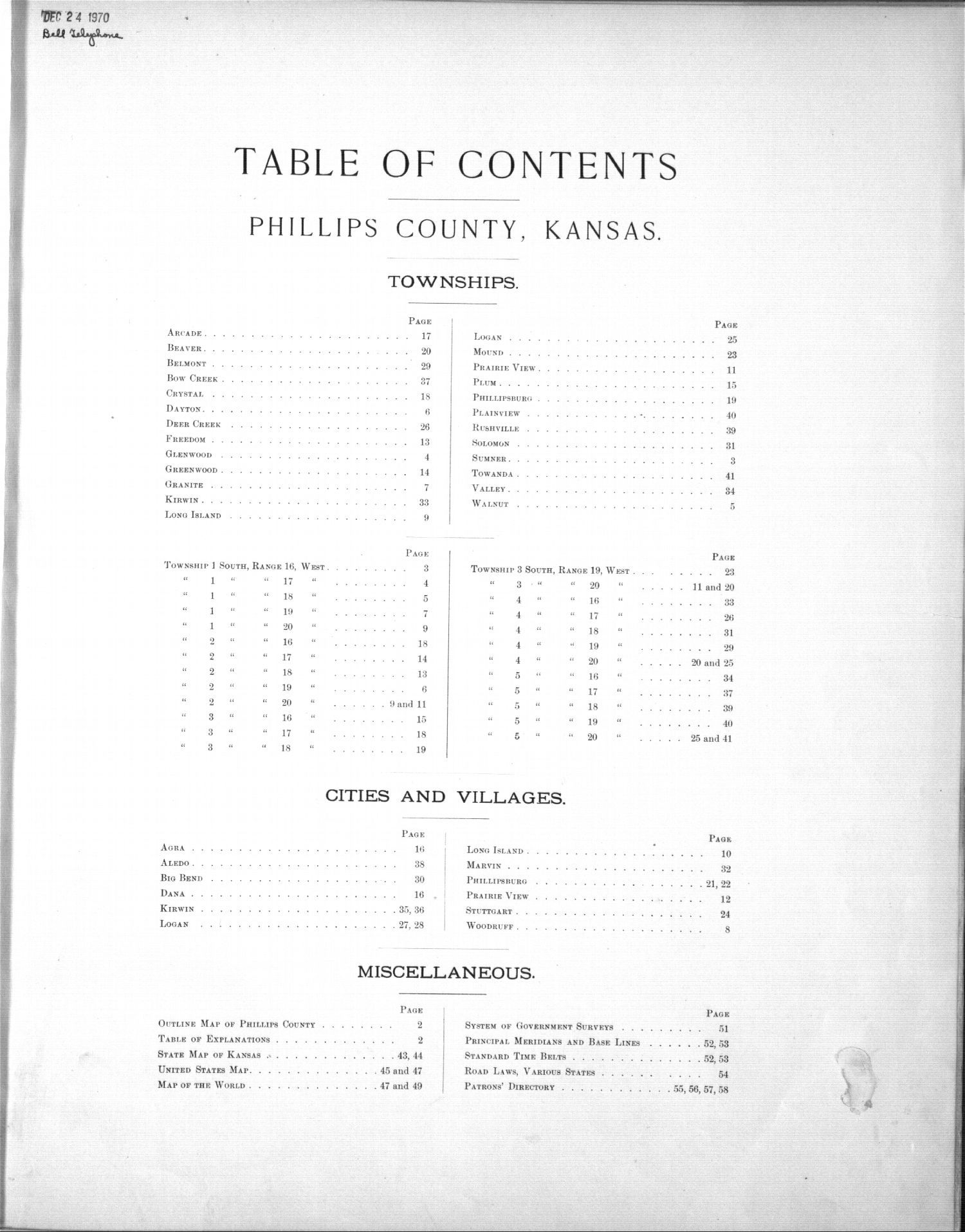 Plat book, Phillips County, Kansas - Table of Contents