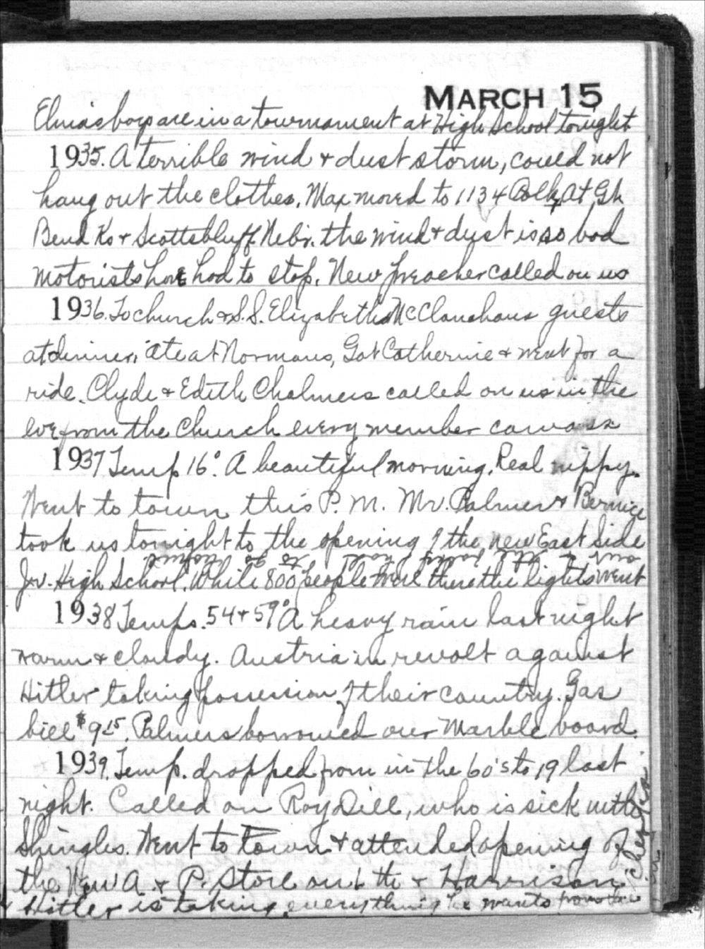 Mabel Holmes diary entries - March 15