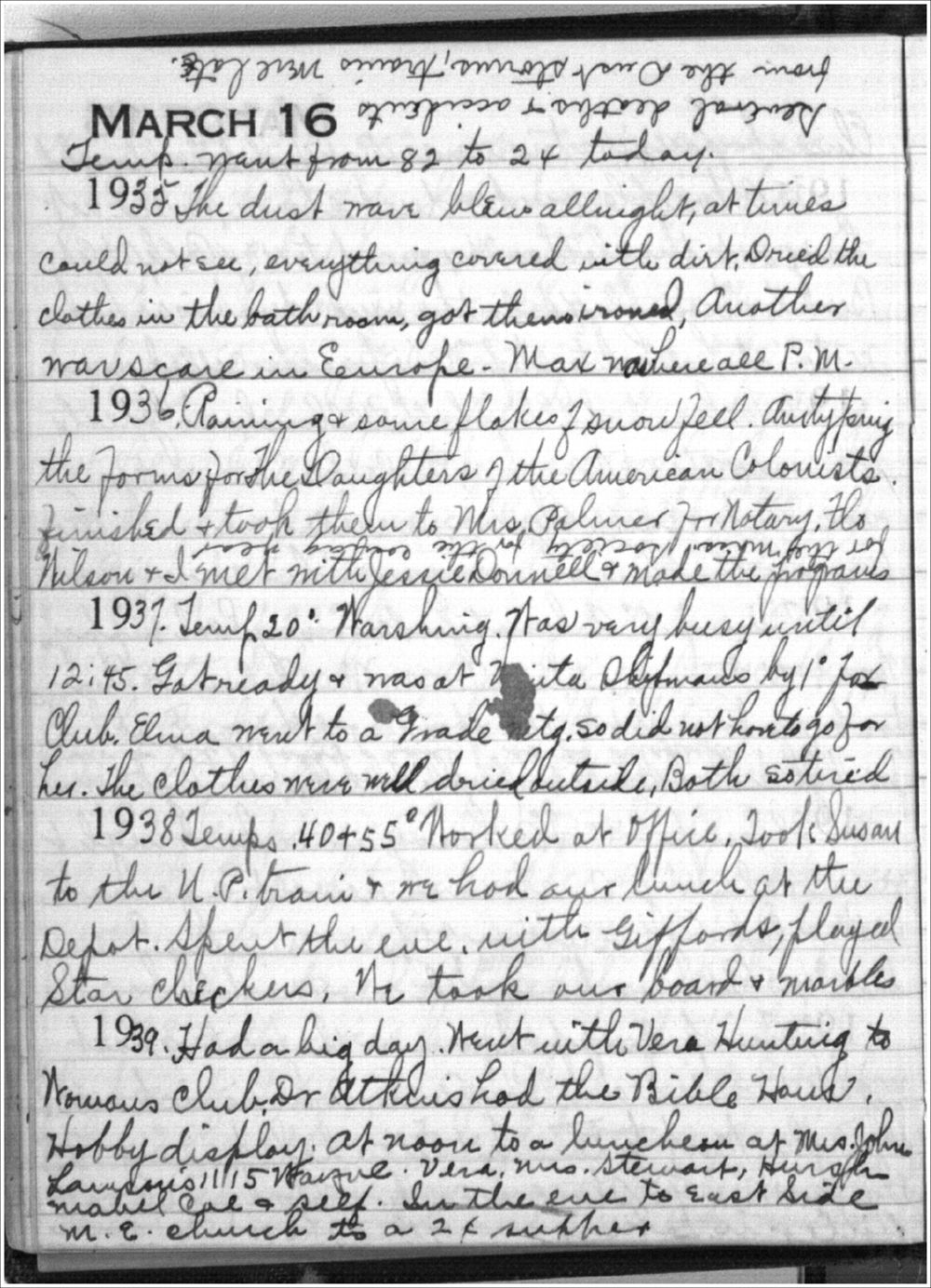 Mabel Holmes diary entries - March 16