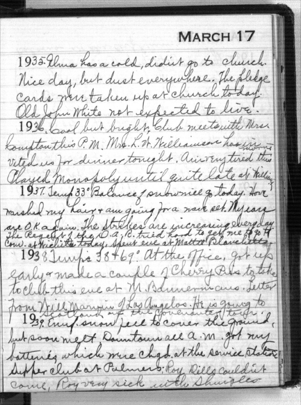 Mabel Holmes diary entries - March 17