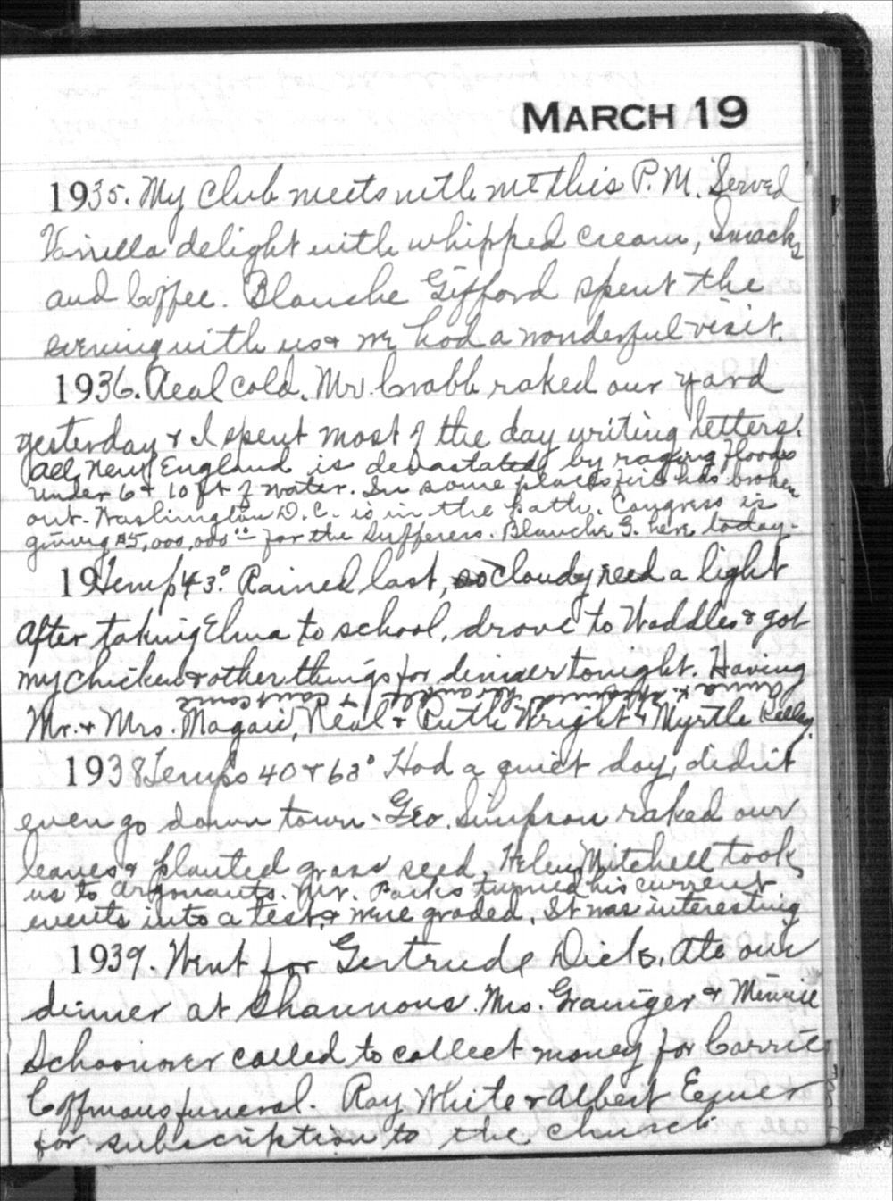 Mabel Holmes diary entries - March 19