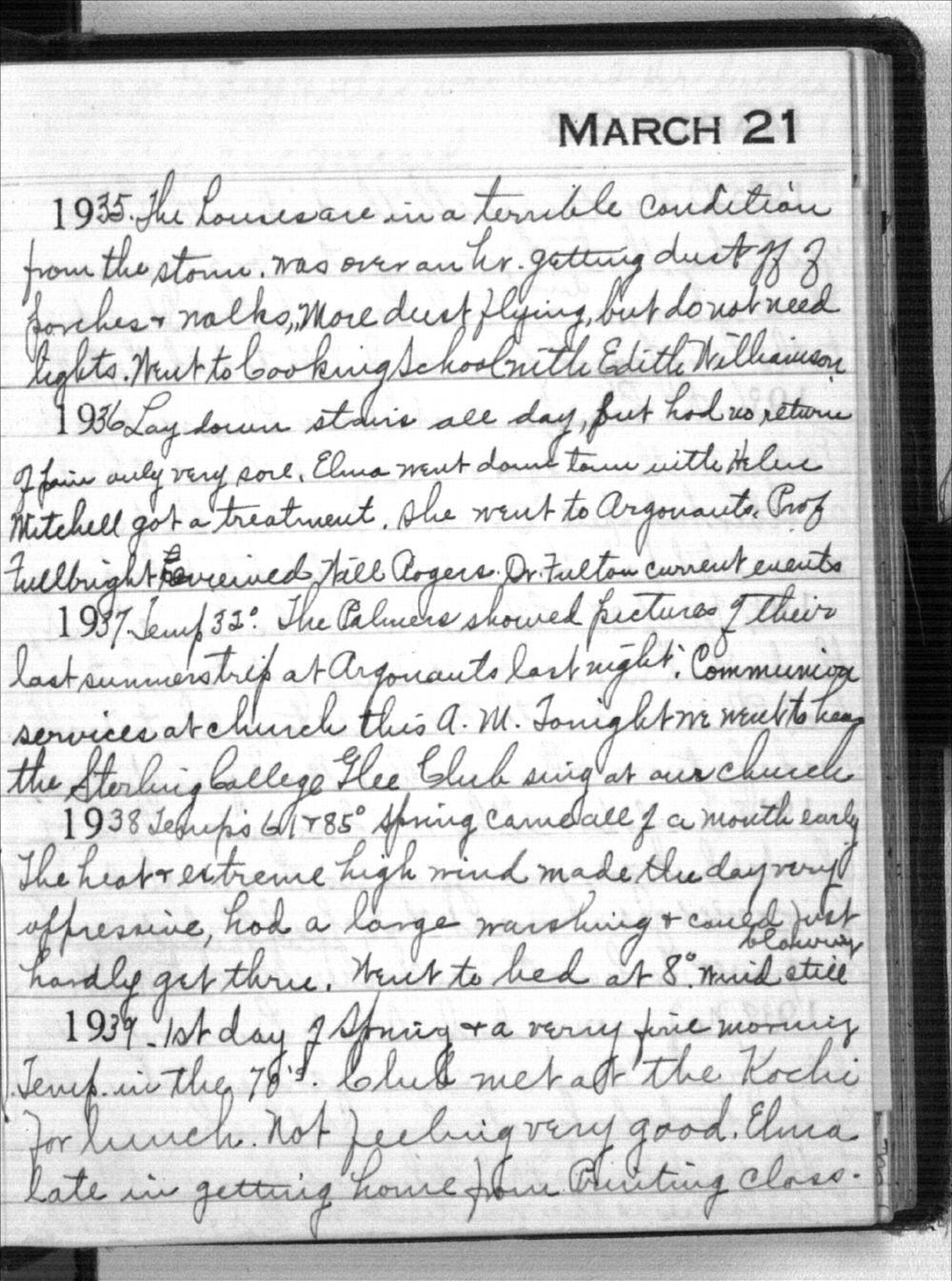 Mabel Holmes diary entries - March 21