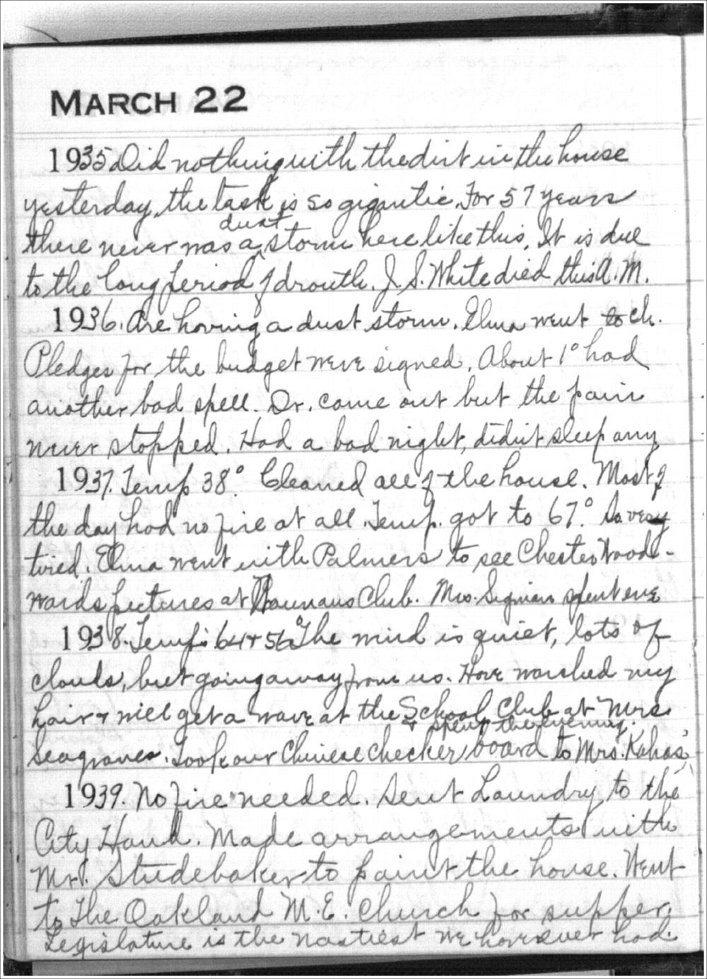 Mabel Holmes diary entries - March 22