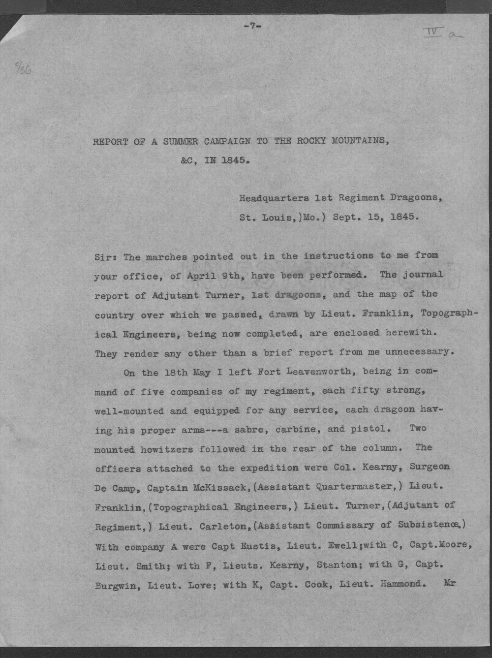Report of a summer campaign to the Rocky Mountains, etc., in 1845 - 7