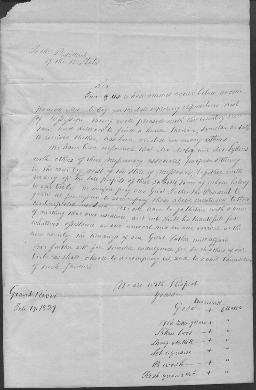 Ottawa Indians to President John Quincy Adams - 2