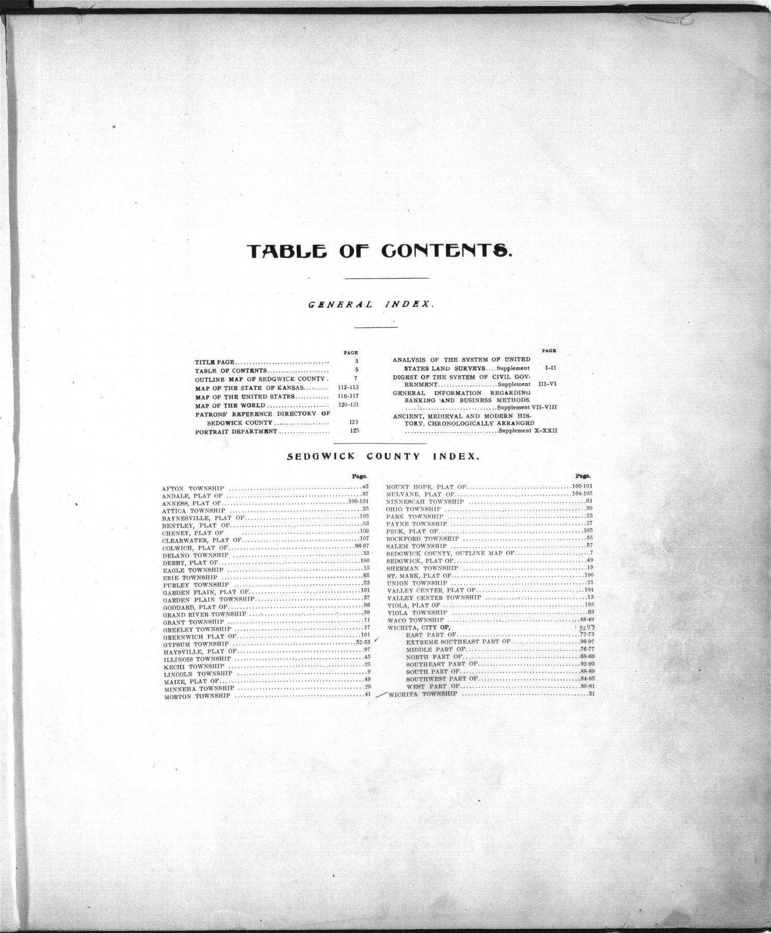 Standard atlas of Sedgwick County, Kansas - Table of Contents