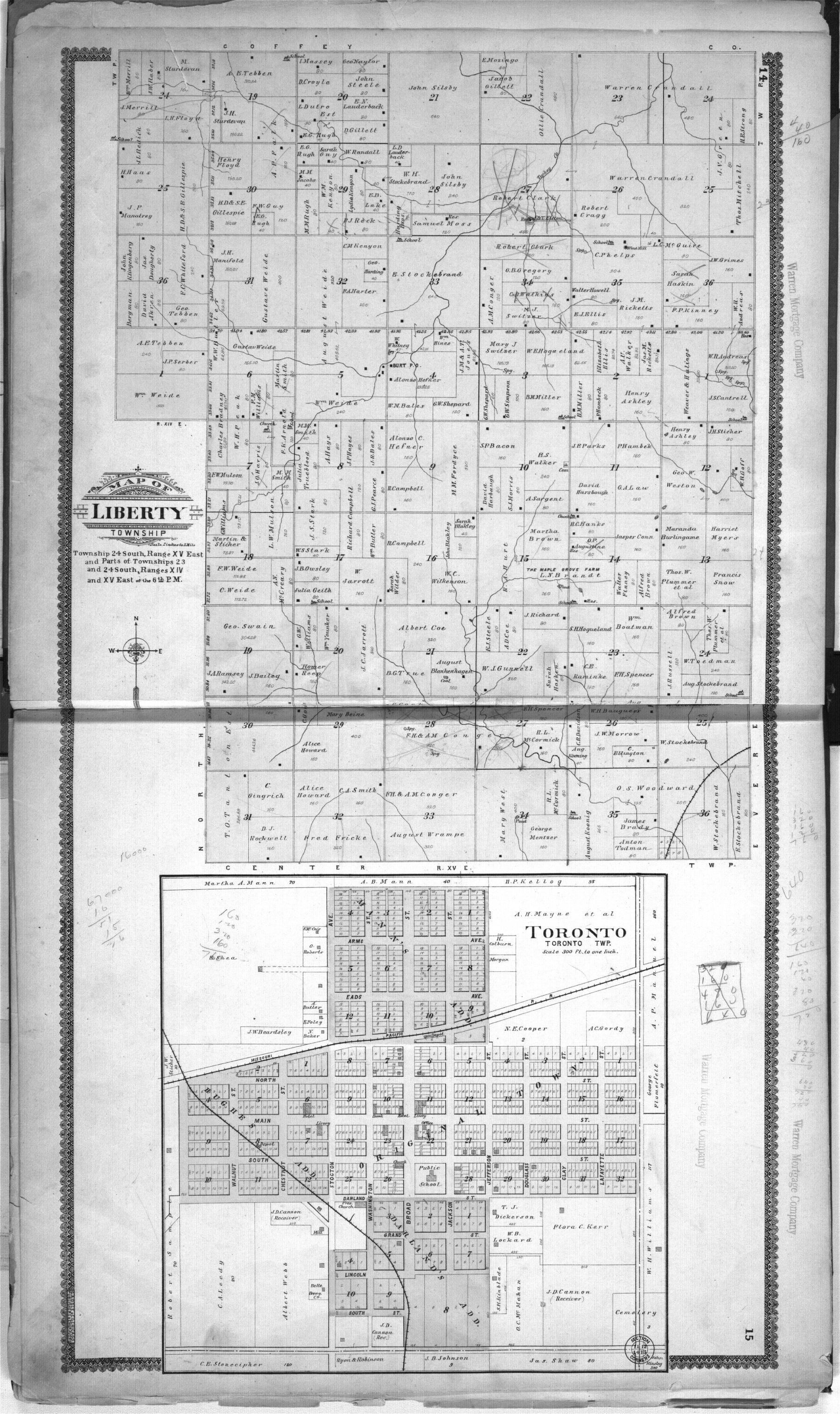 Standard atlas of Woodson County, Kansas - 14 & 15
