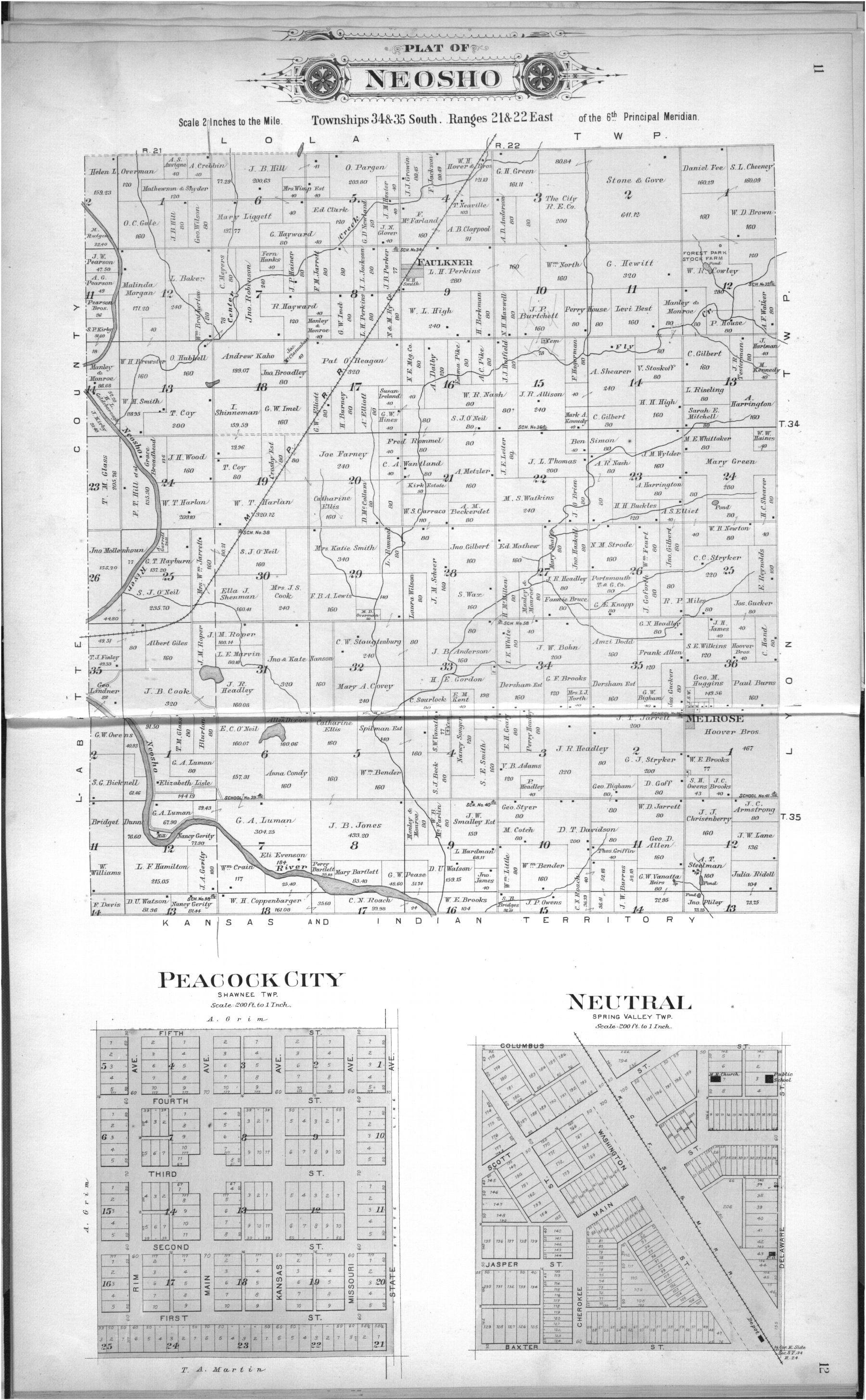 Plat book, Cherokee County, Kansas - 11 &  12